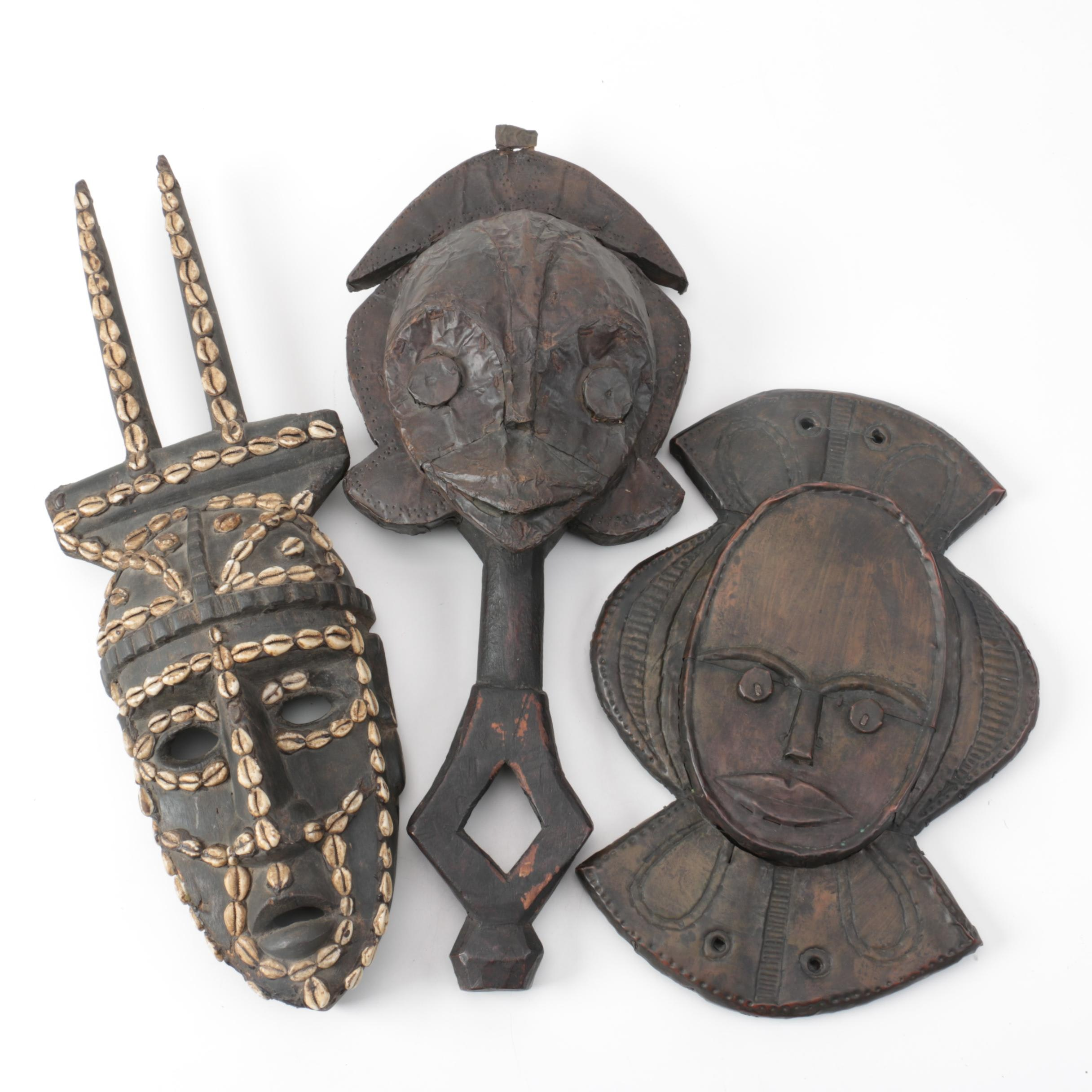 Bamana Style Carved Wood Mask and Gabon Style Reliquary Masks