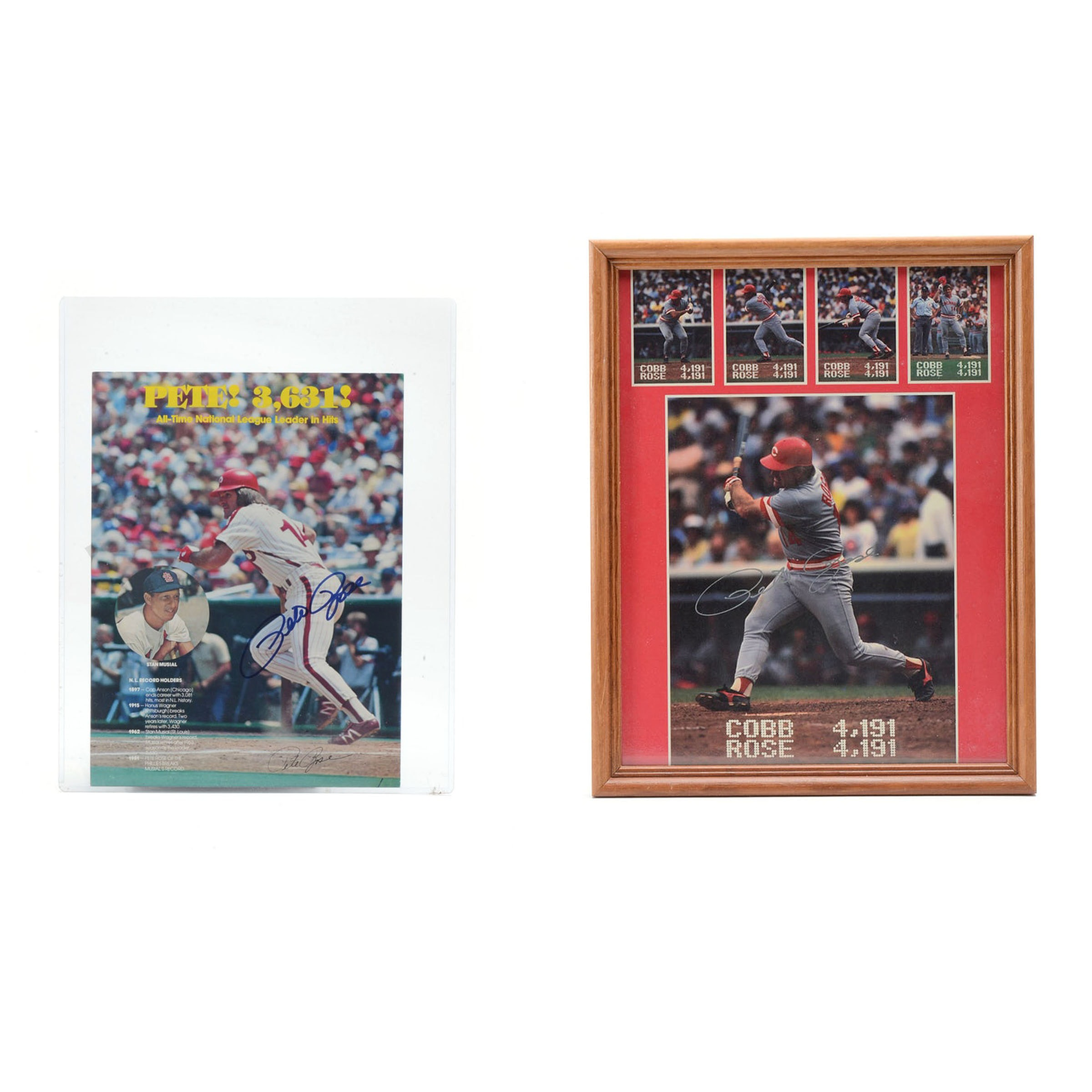 Pair Of Pete Rose Autographed Baseball Photos