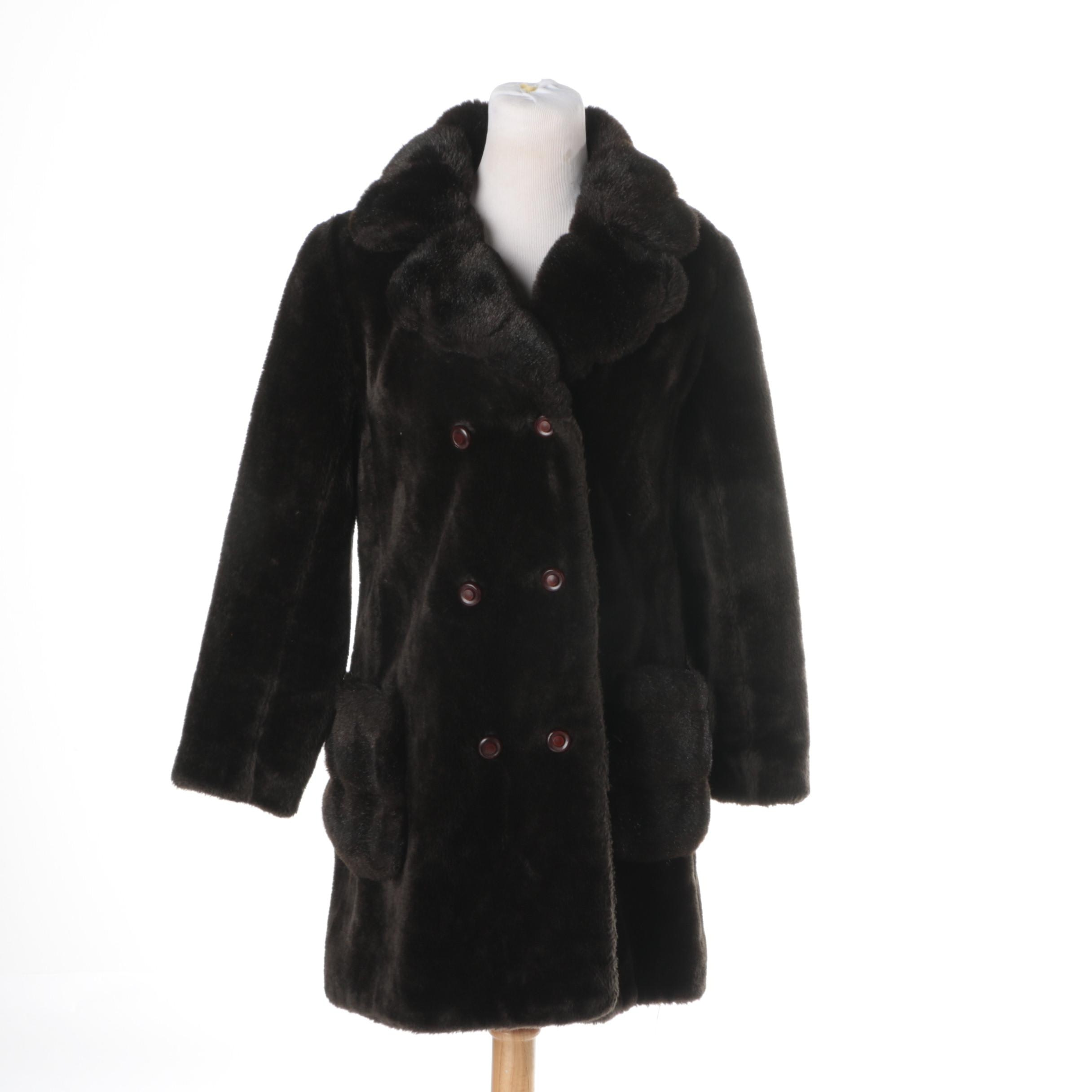 Women's Vintage Double-Breasted Faux Fur Coat