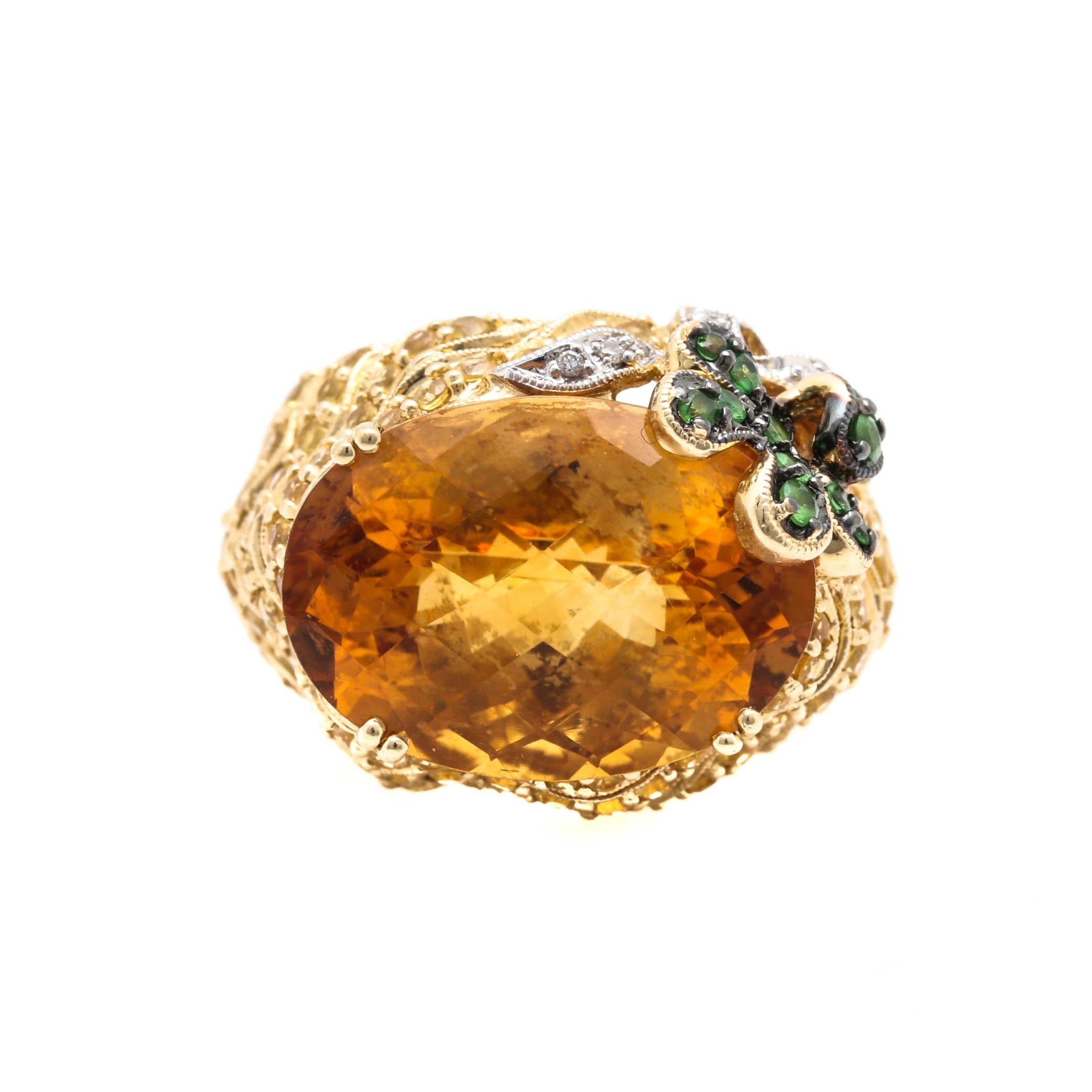 14K Yellow Gold 12.76 CT Citrine, Gemstone and Diamond Ring