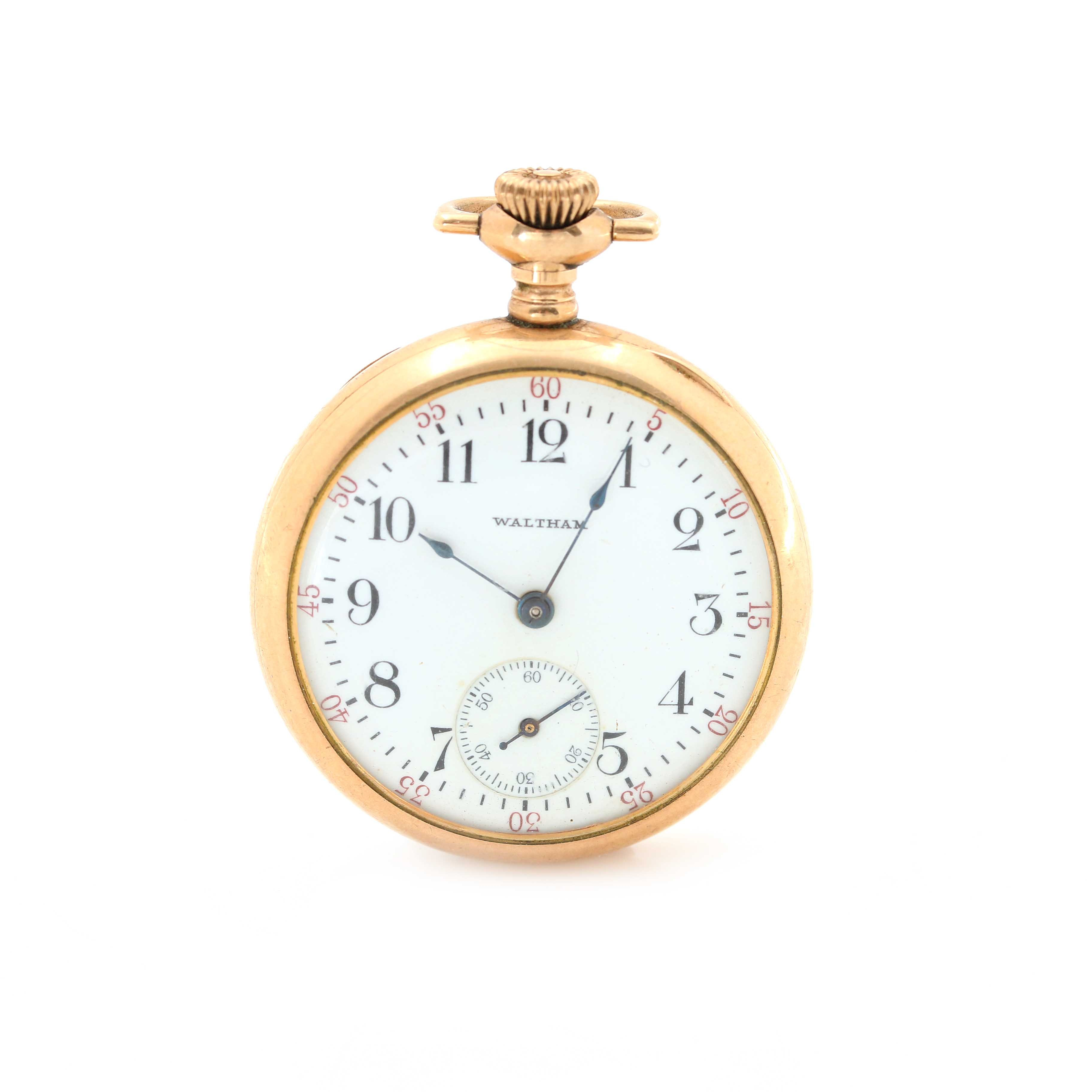 Antique Waltham Gold Filled Open Face Pocket Watch
