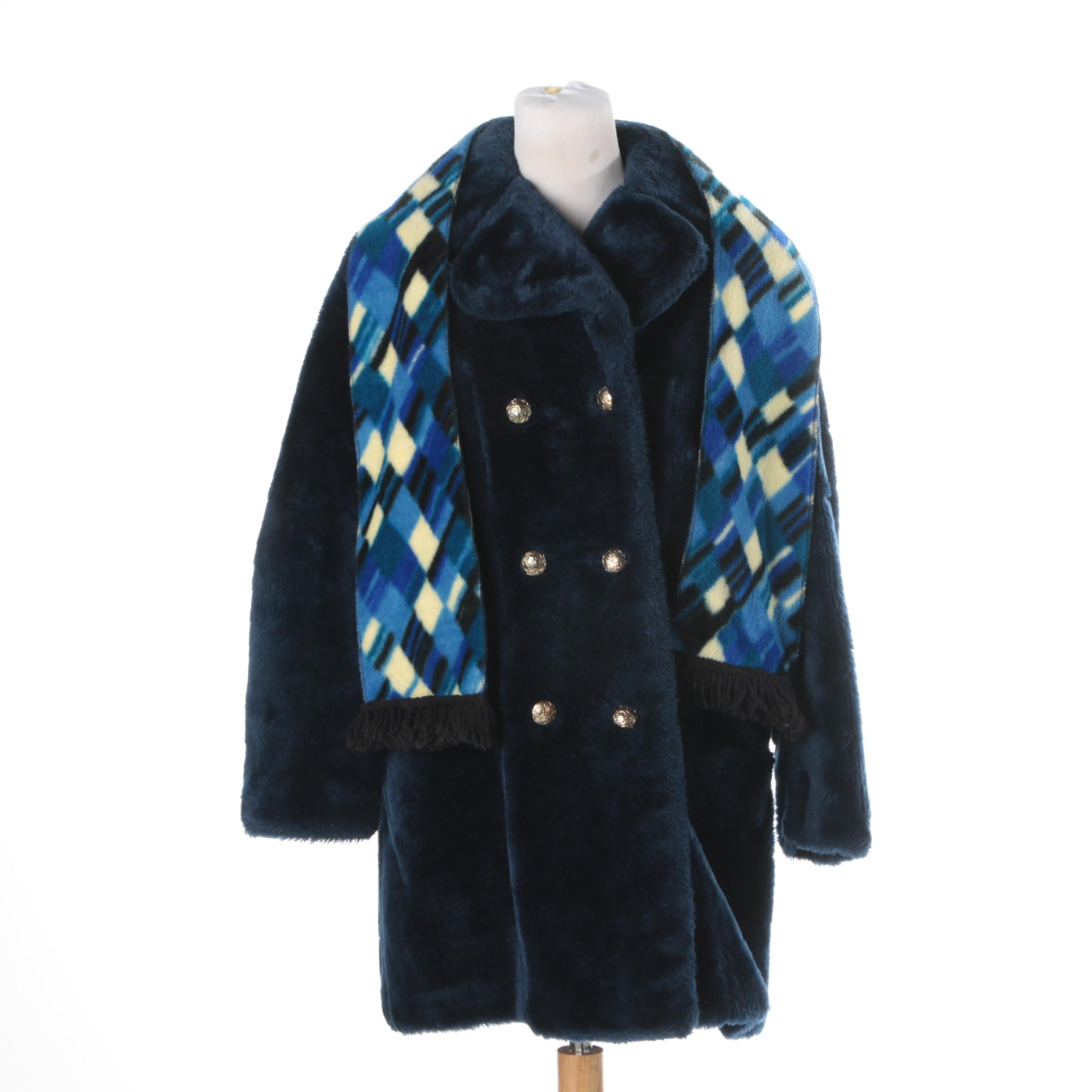 Vintage Sears Faux Fur Coat and Scarf