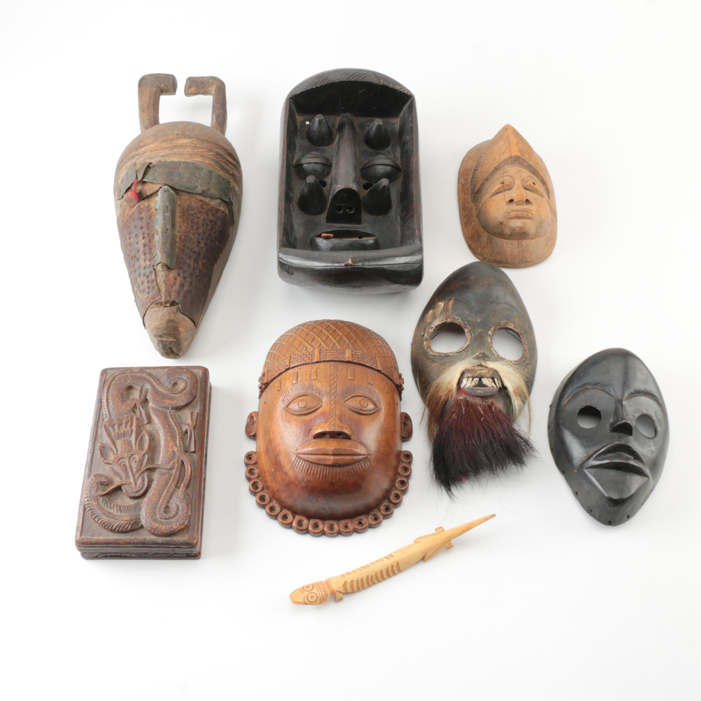 Collection of Ethnographic Art Including West African Masks