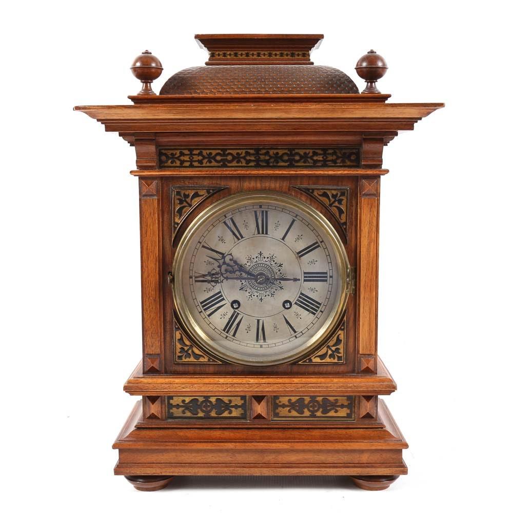 Vintage European Walnut Mantel Clock