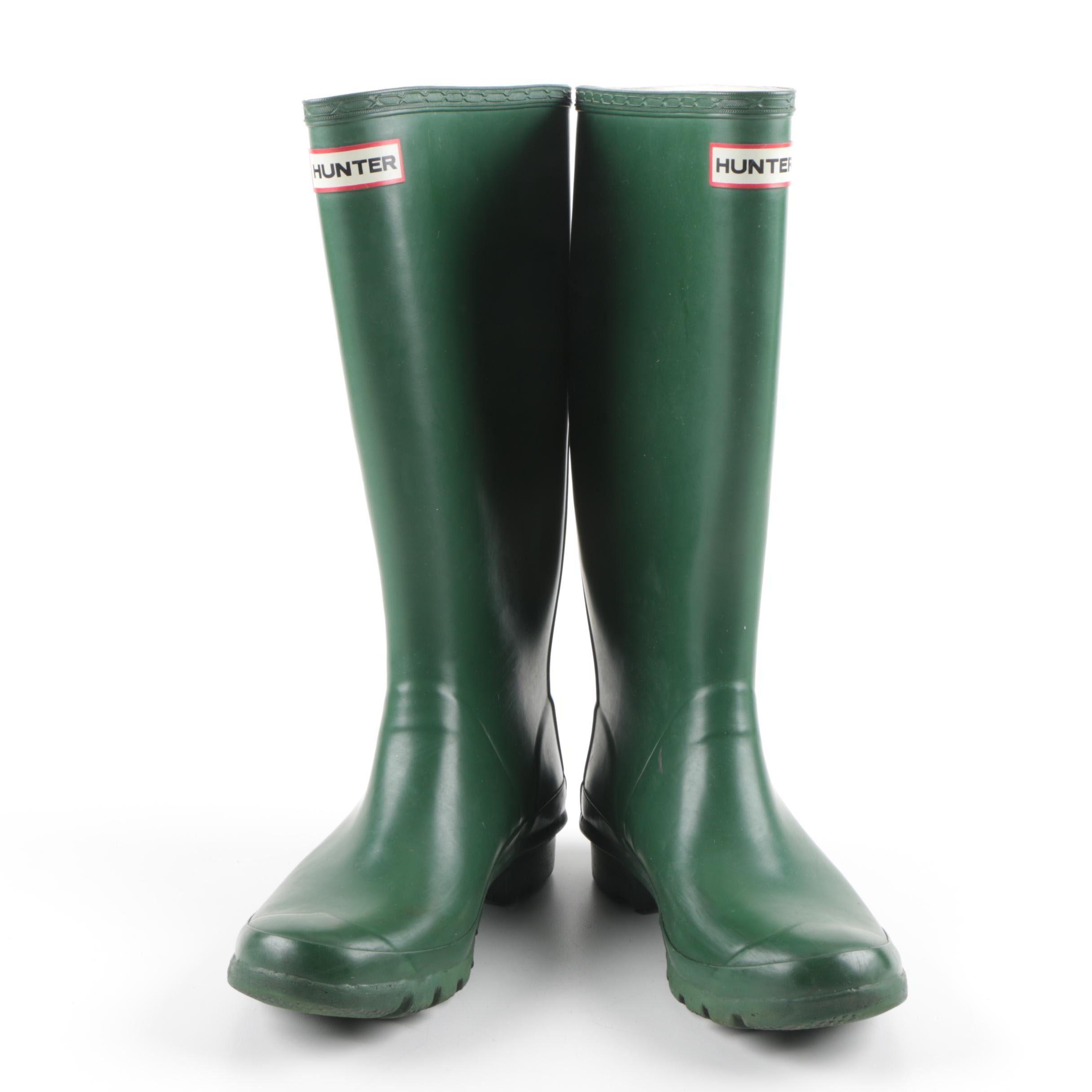 Hunter Rubber Green Rain Boots