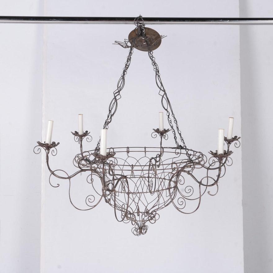 Ornate wire basket chandelier ebth ornate wire basket chandelier aloadofball Gallery