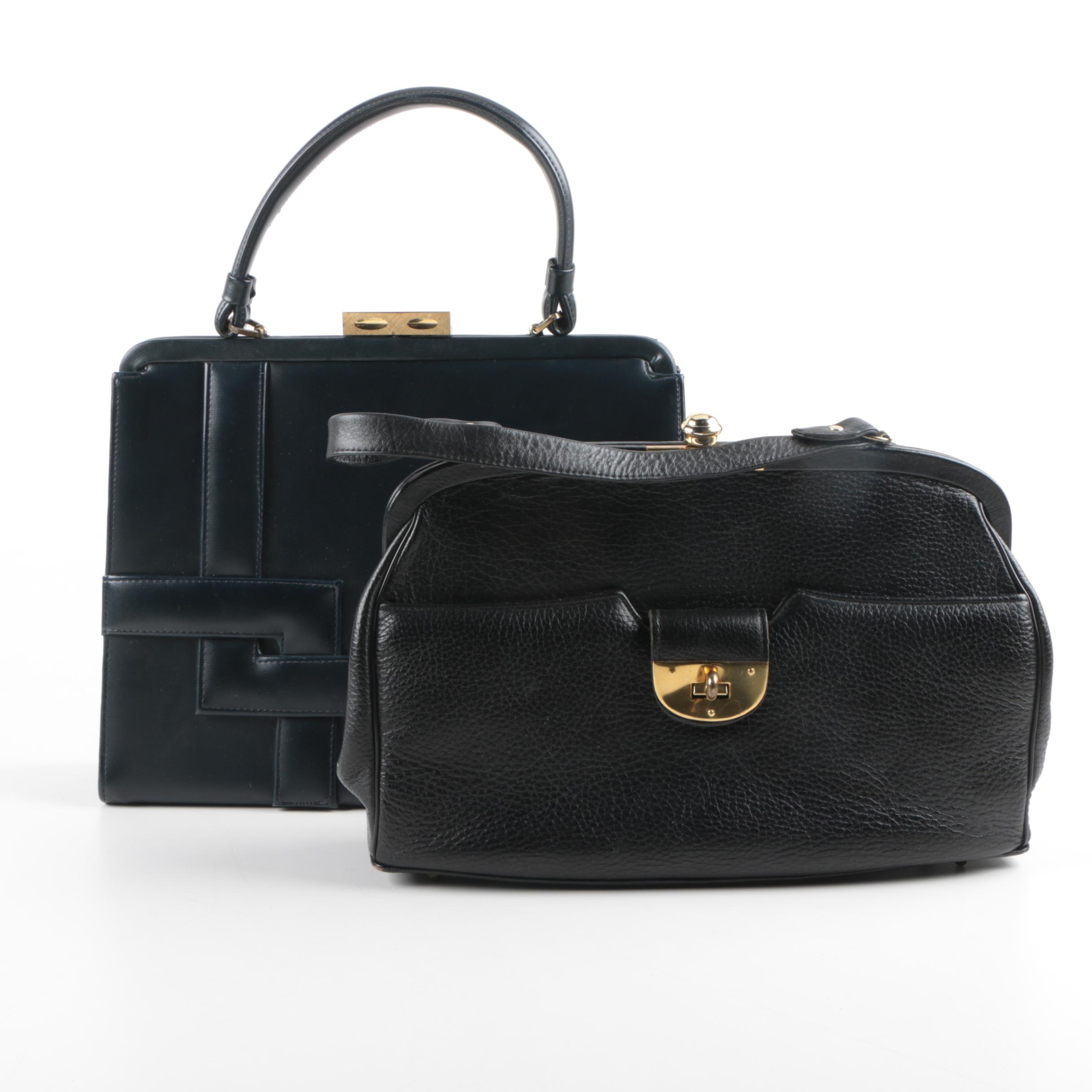 Vintage Leather and Faux Leather Hinge Handbags