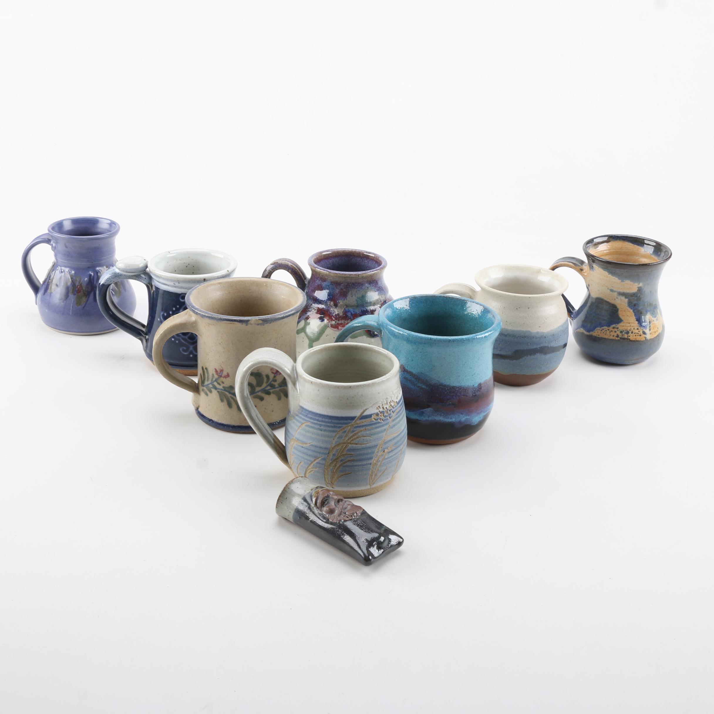Studio Pottery Mugs and Wall Pocket