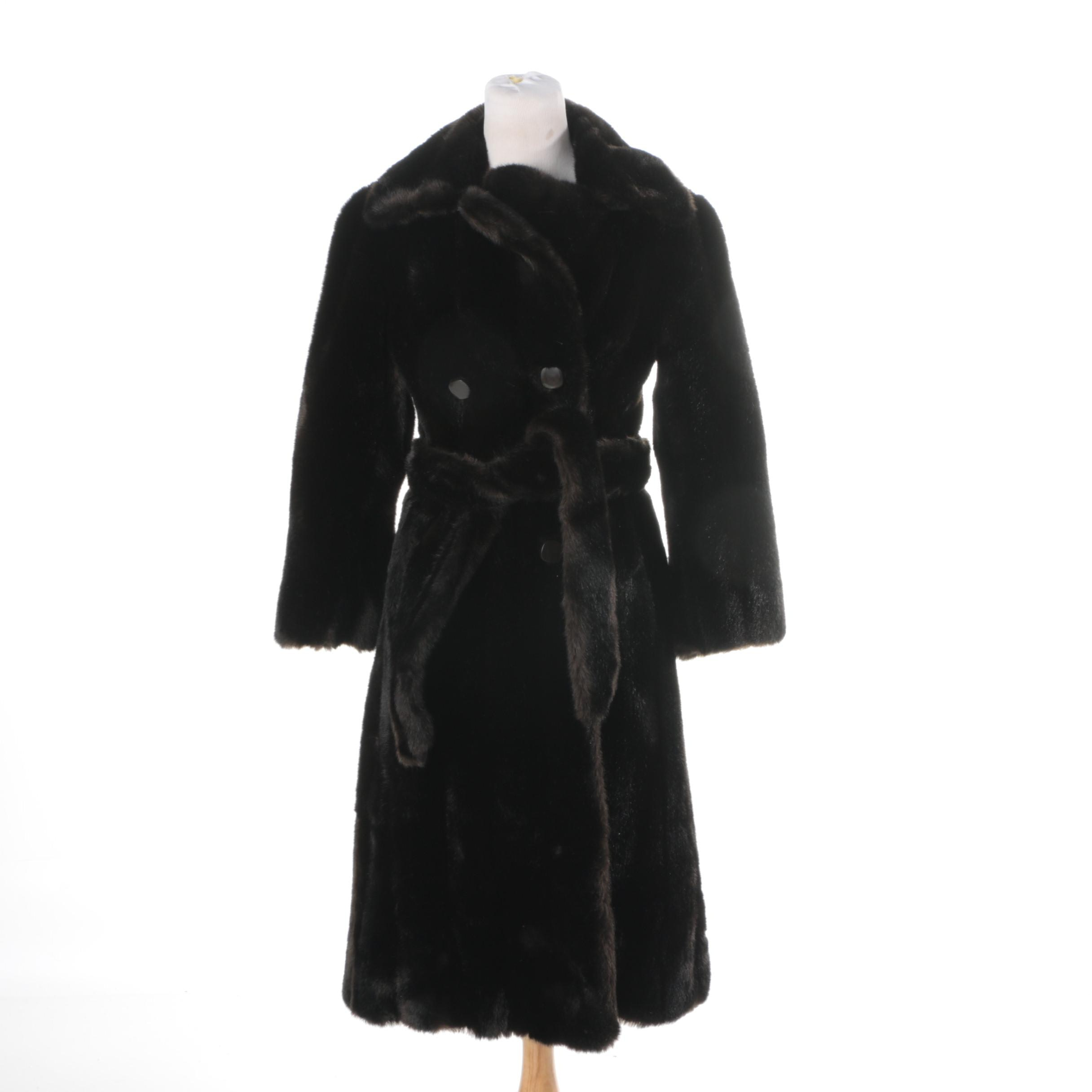 Women's Vintage Saks Fifth Avenue Double-Breasted Faux Fur Coat