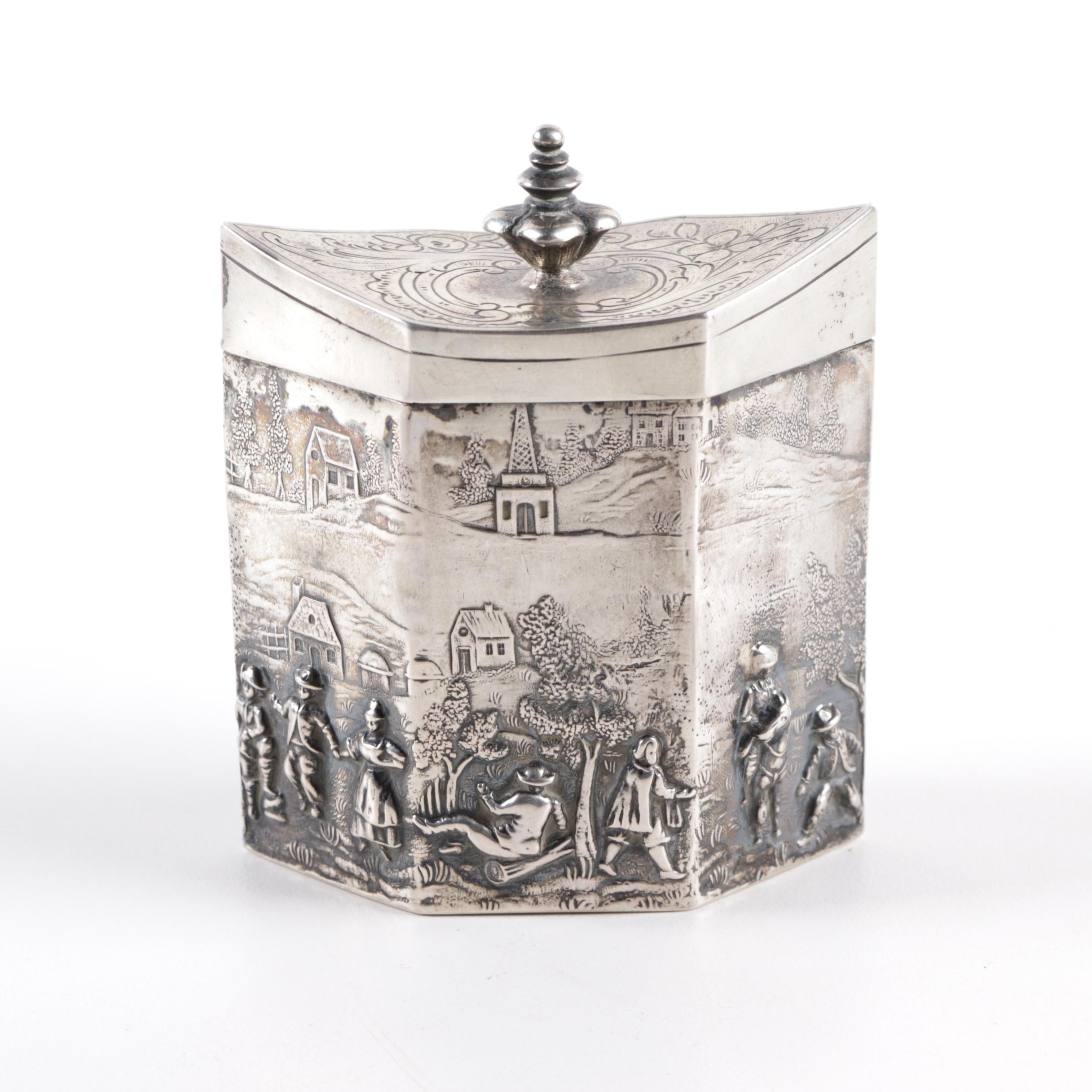 800 Silver Chased and Repoussé Tea Caddy Attributed to Wolf & Knell