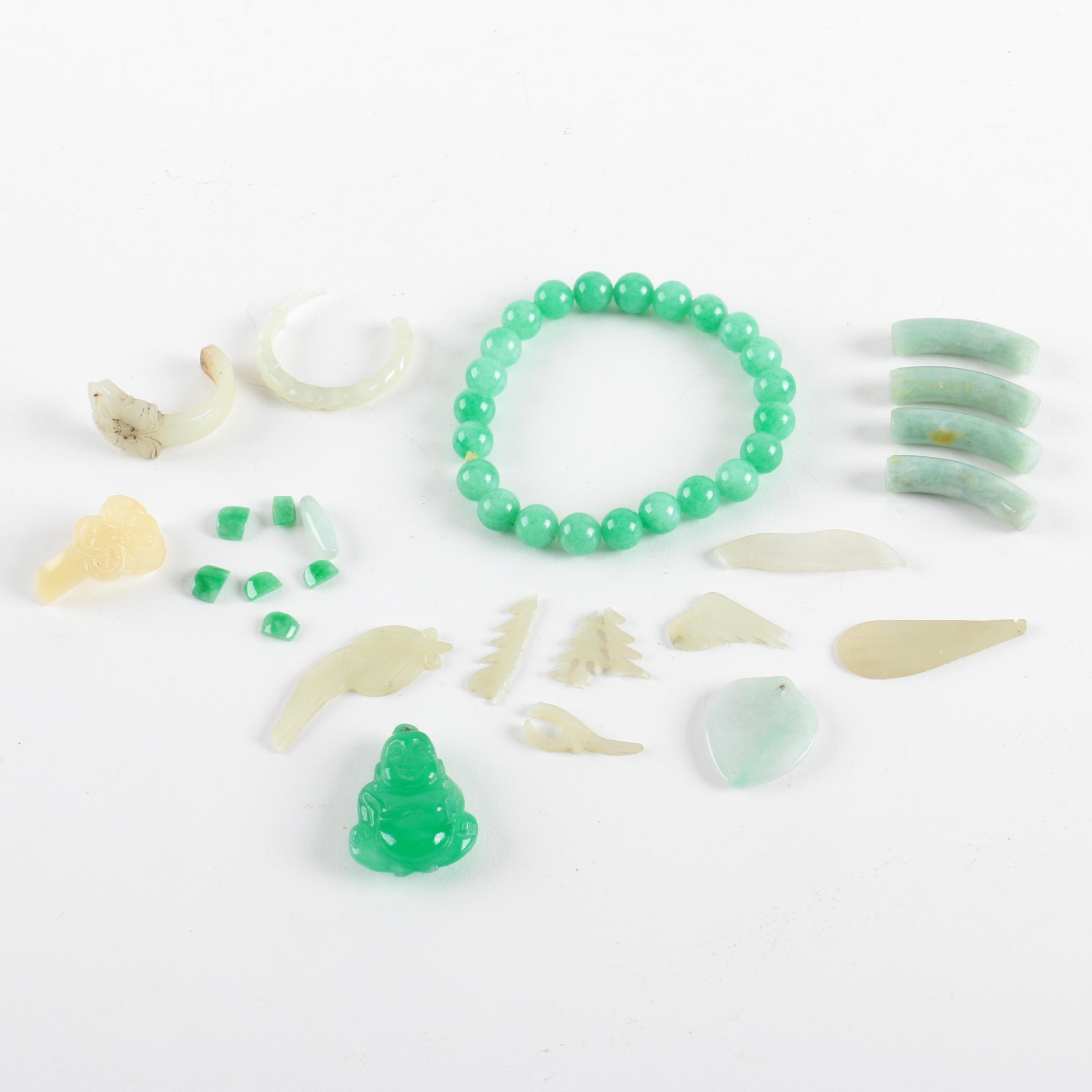 Jadeite Buddha Pendant, Quench Crackled Quartz Bracelet and Natural Stone Pieces
