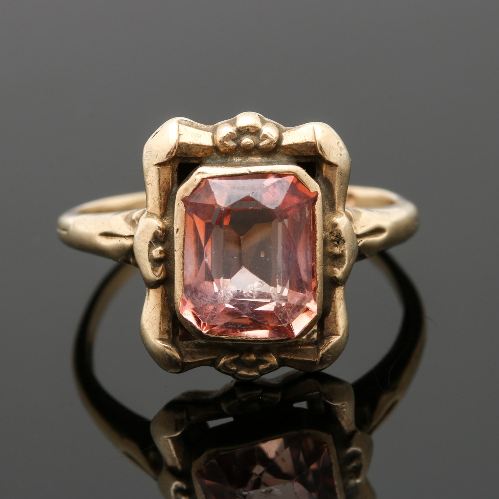 Late Victorian 10K Yellow Gold Sapphire Ring
