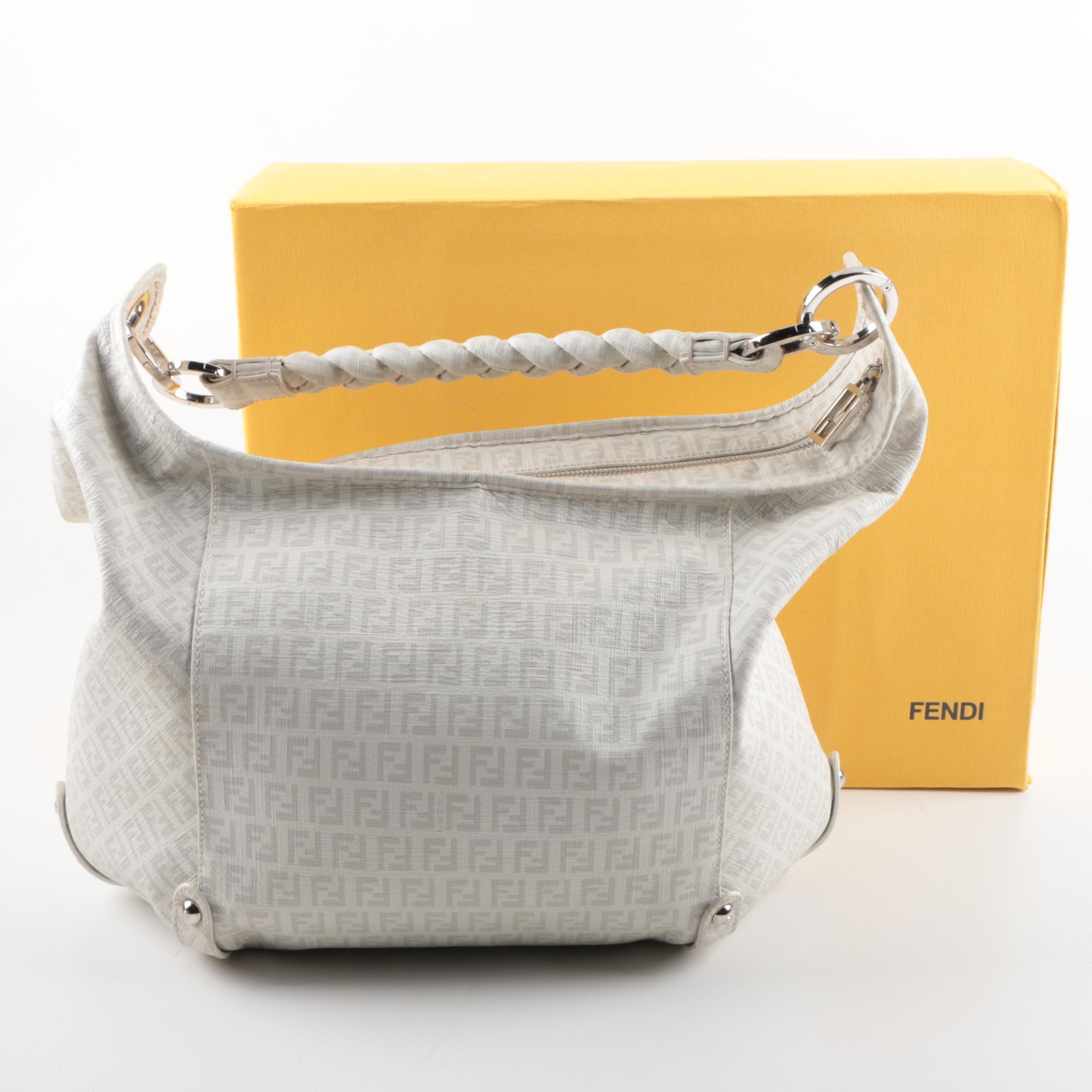 Fendi White and Grey Coated Canvas Hobo Handbag