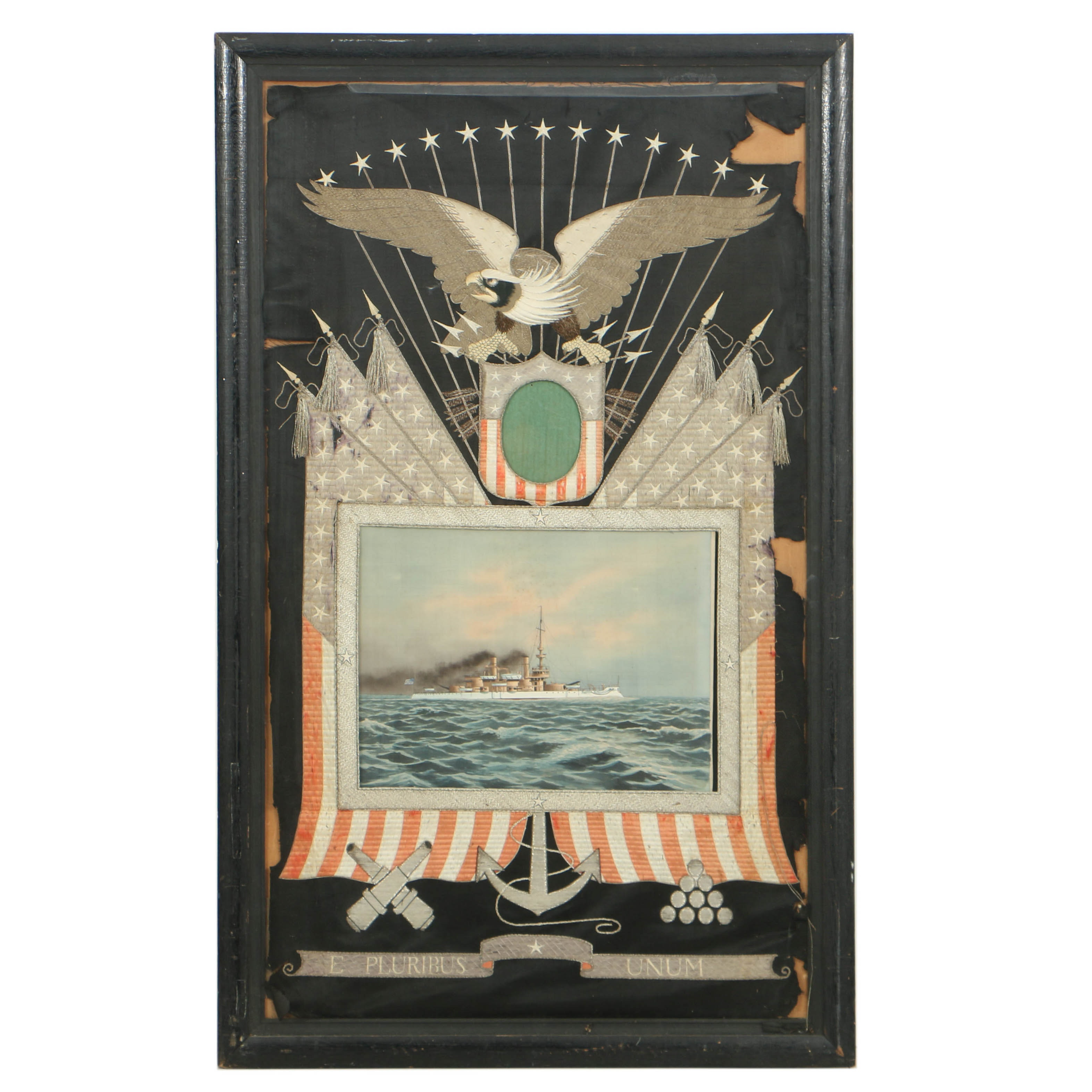 Antique Asian Embroidery for the American Naval Market, Circa Early 20th Century
