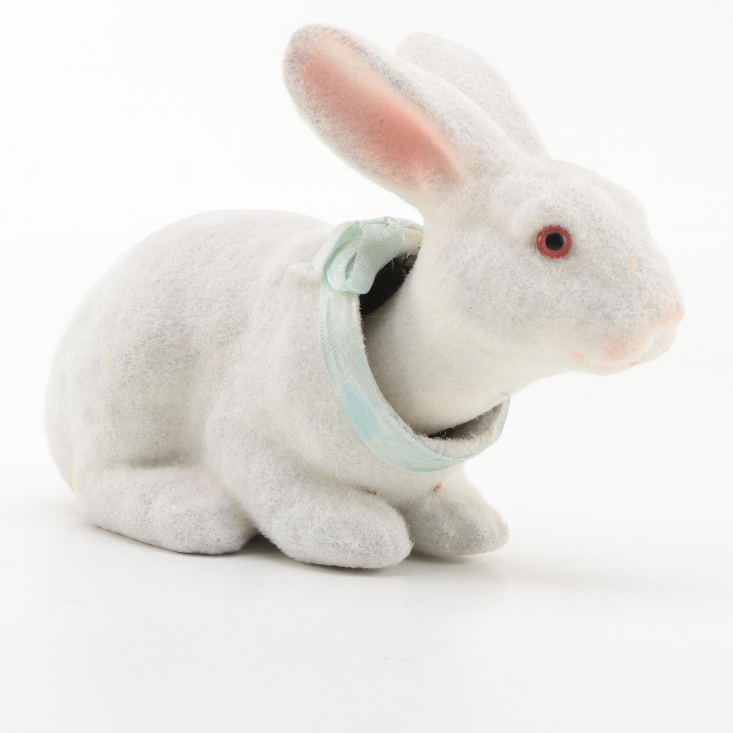 1950s Flocked Nodding Bunny Figurine