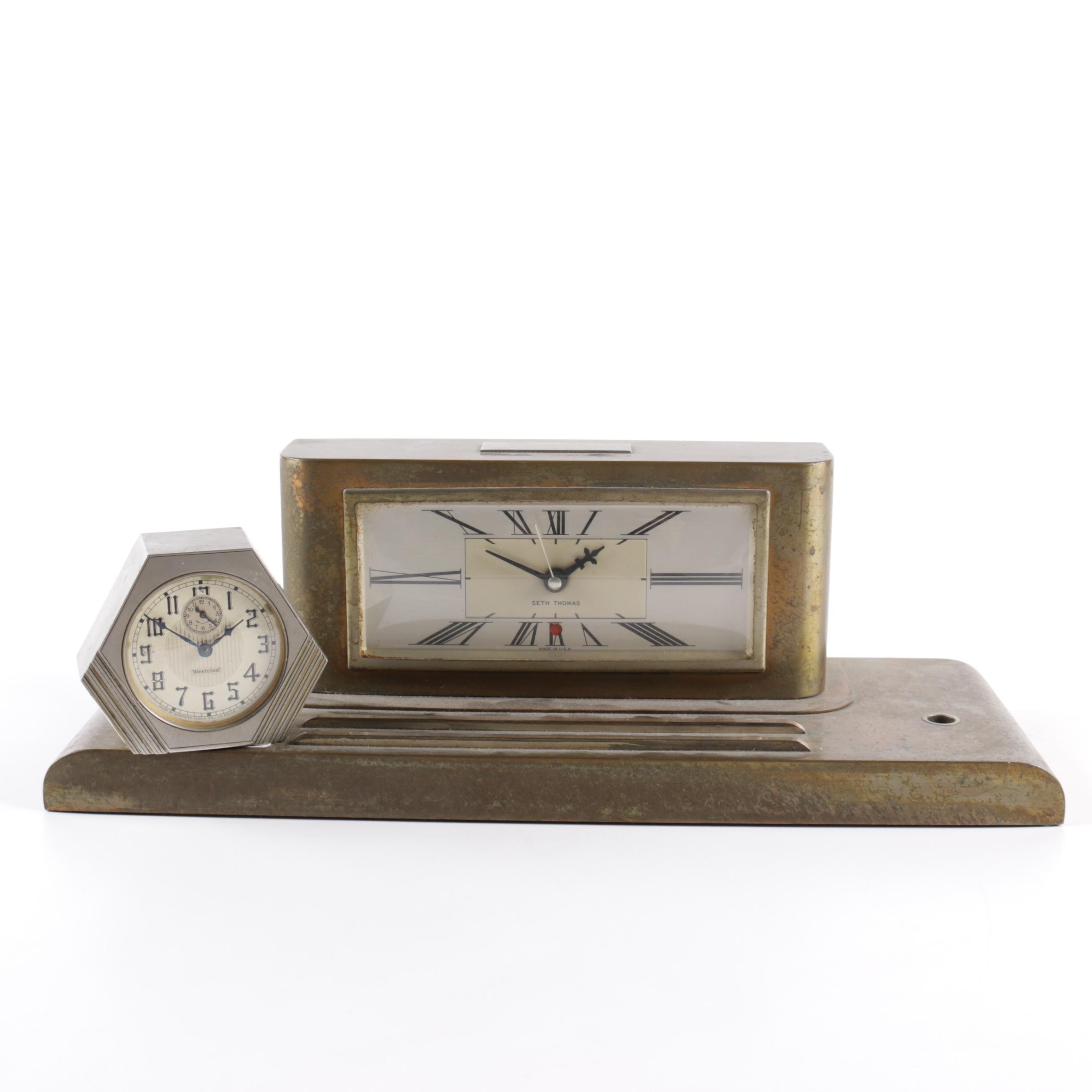 Seth Thomas Desk Clock and Westclox Art Deco Clock