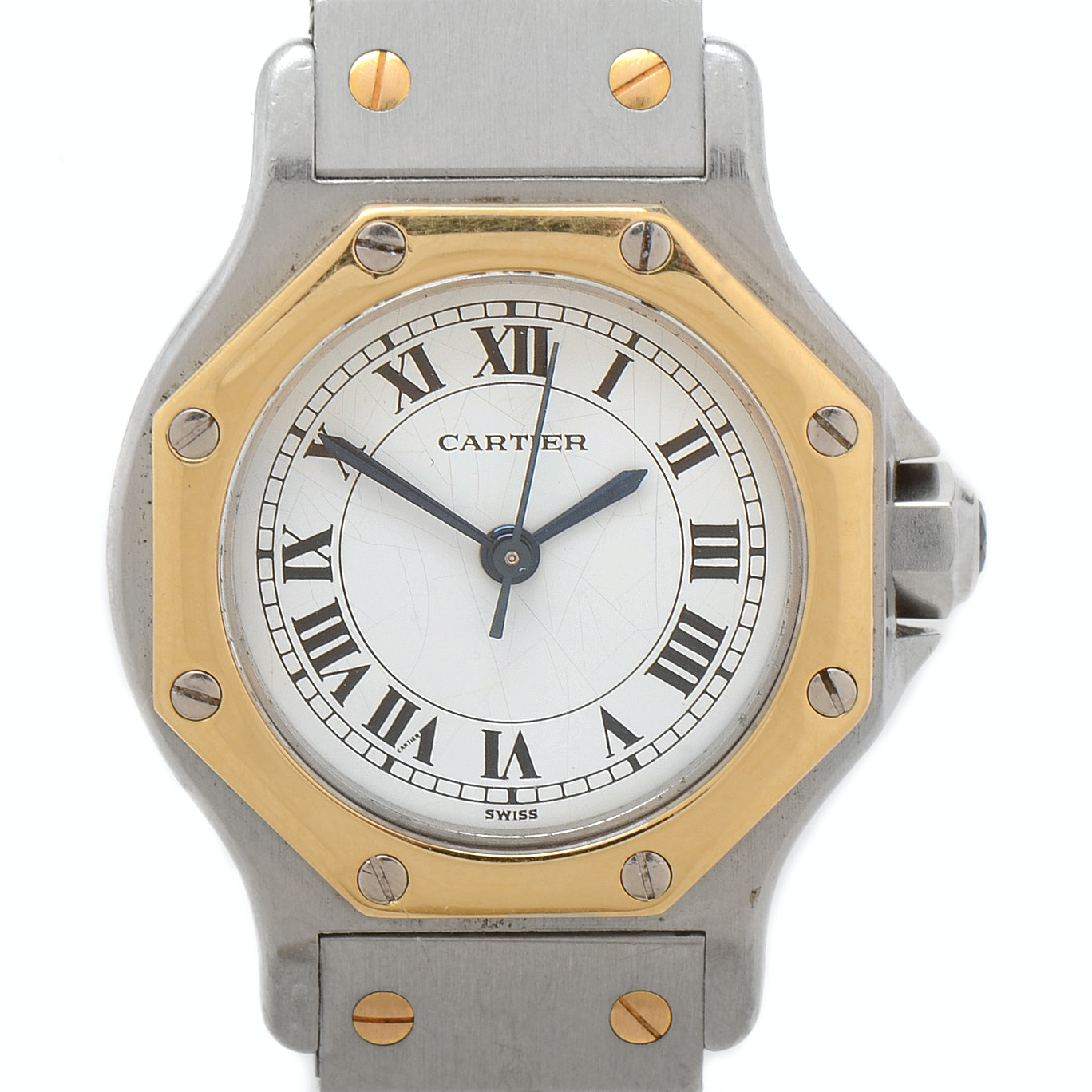 "Cartier ""Santos"" Octagon 18K Yellow Gold & Stainless Steel Automatic Wristwatch"