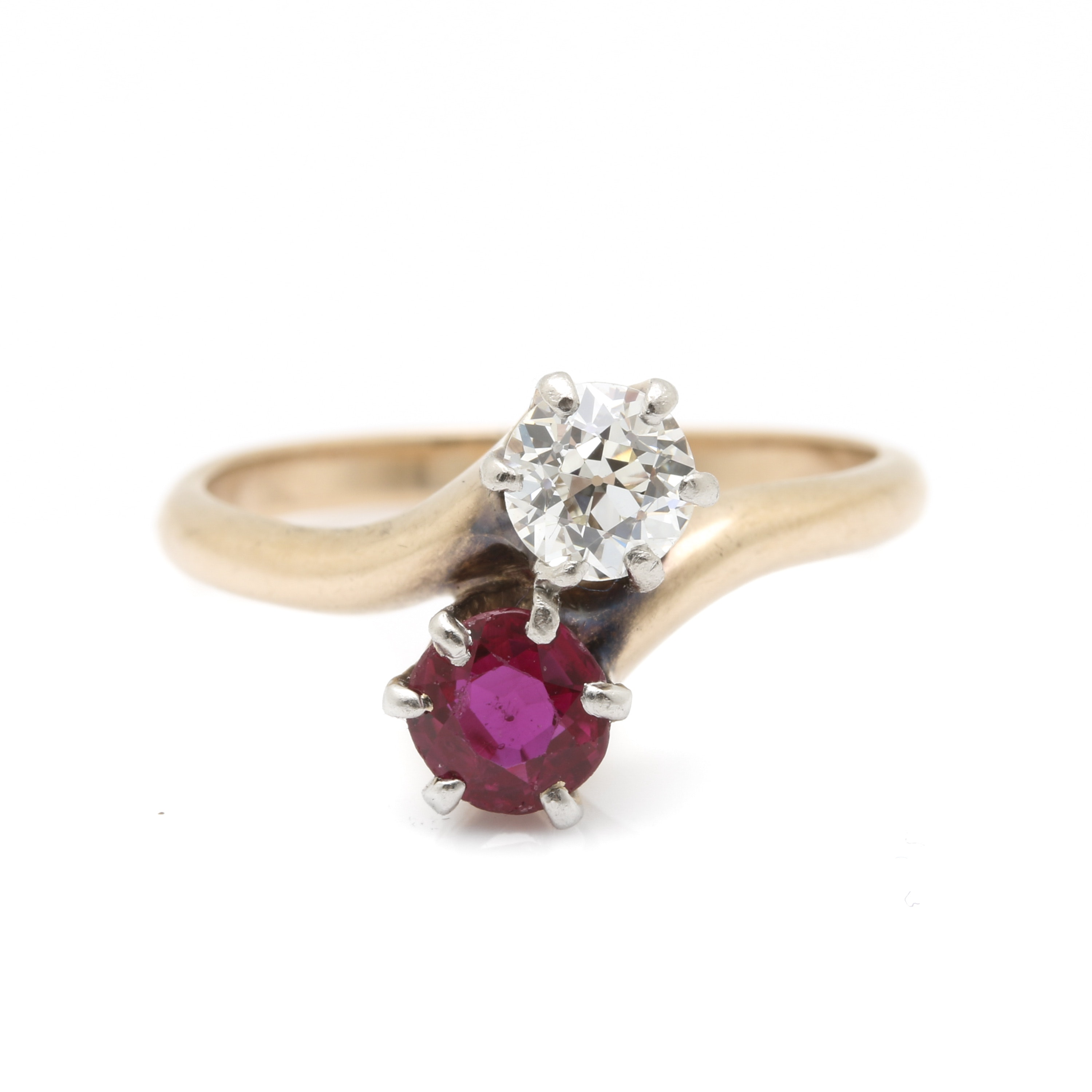 Vintage 10K Yellow Gold Ruby and Diamond Bypass Ring