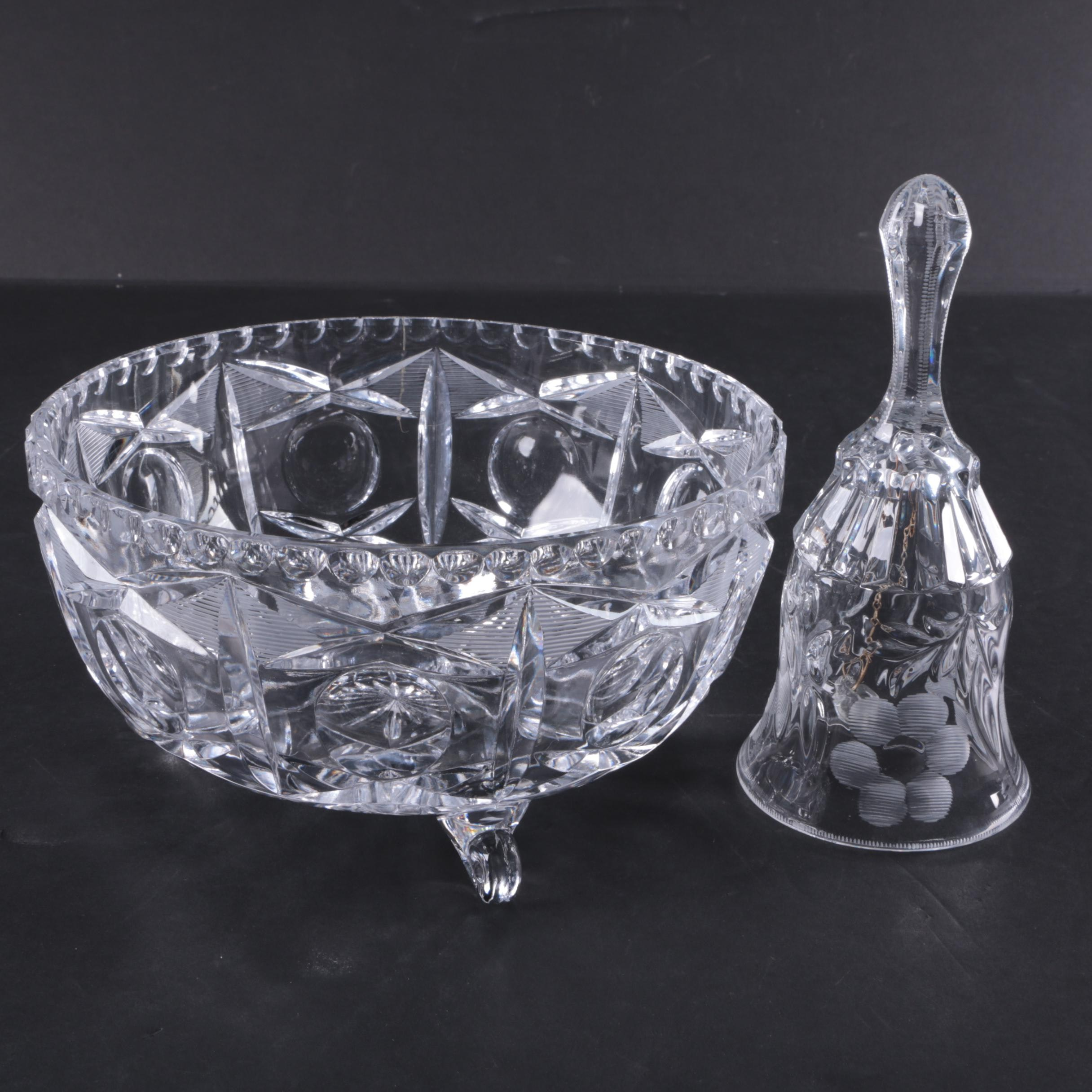 Footed Glass Serving Bowl & Glass Bell