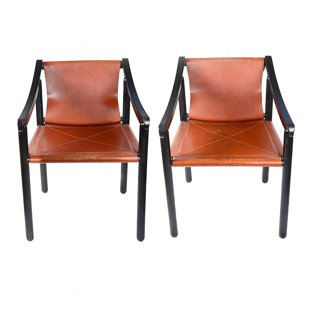 Modernist Leather Armchairs by Cassina for Atelier International