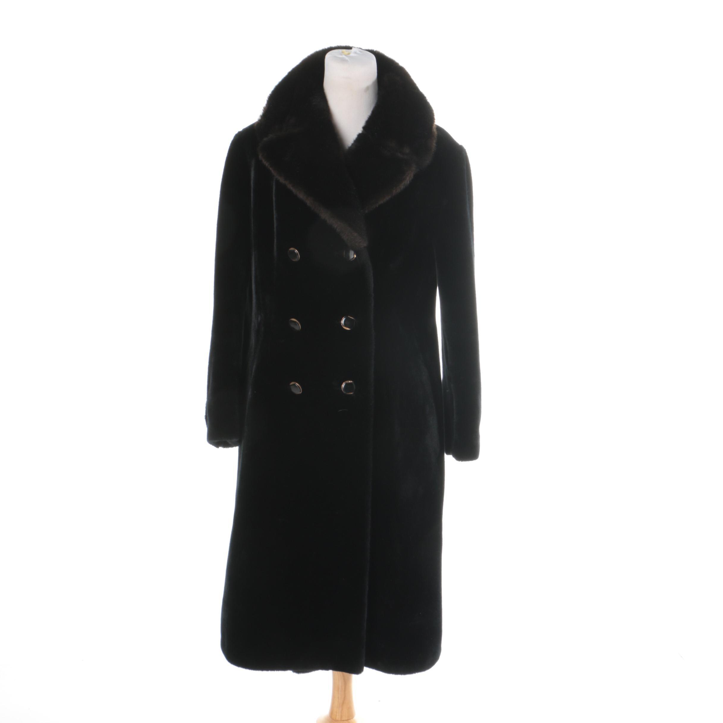 Women's Vintage Black Faux Fur Coat