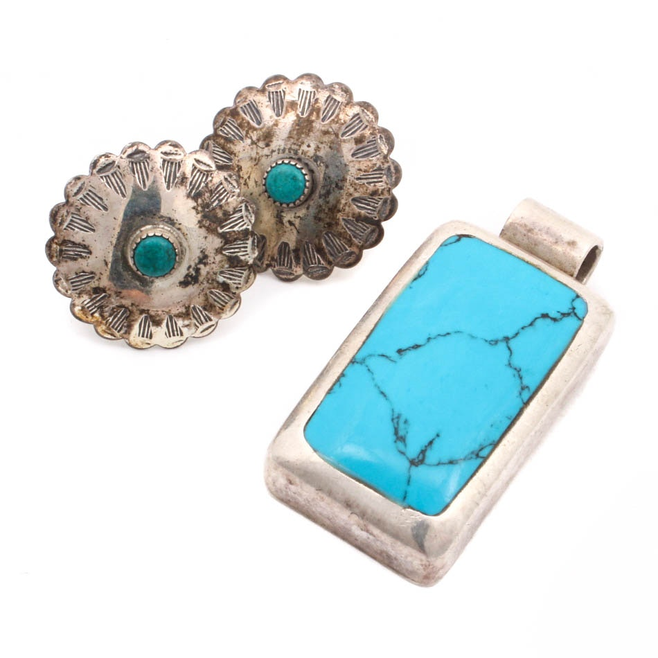 Sterling Silver Synthetic Turquoise Earrings and Pendant