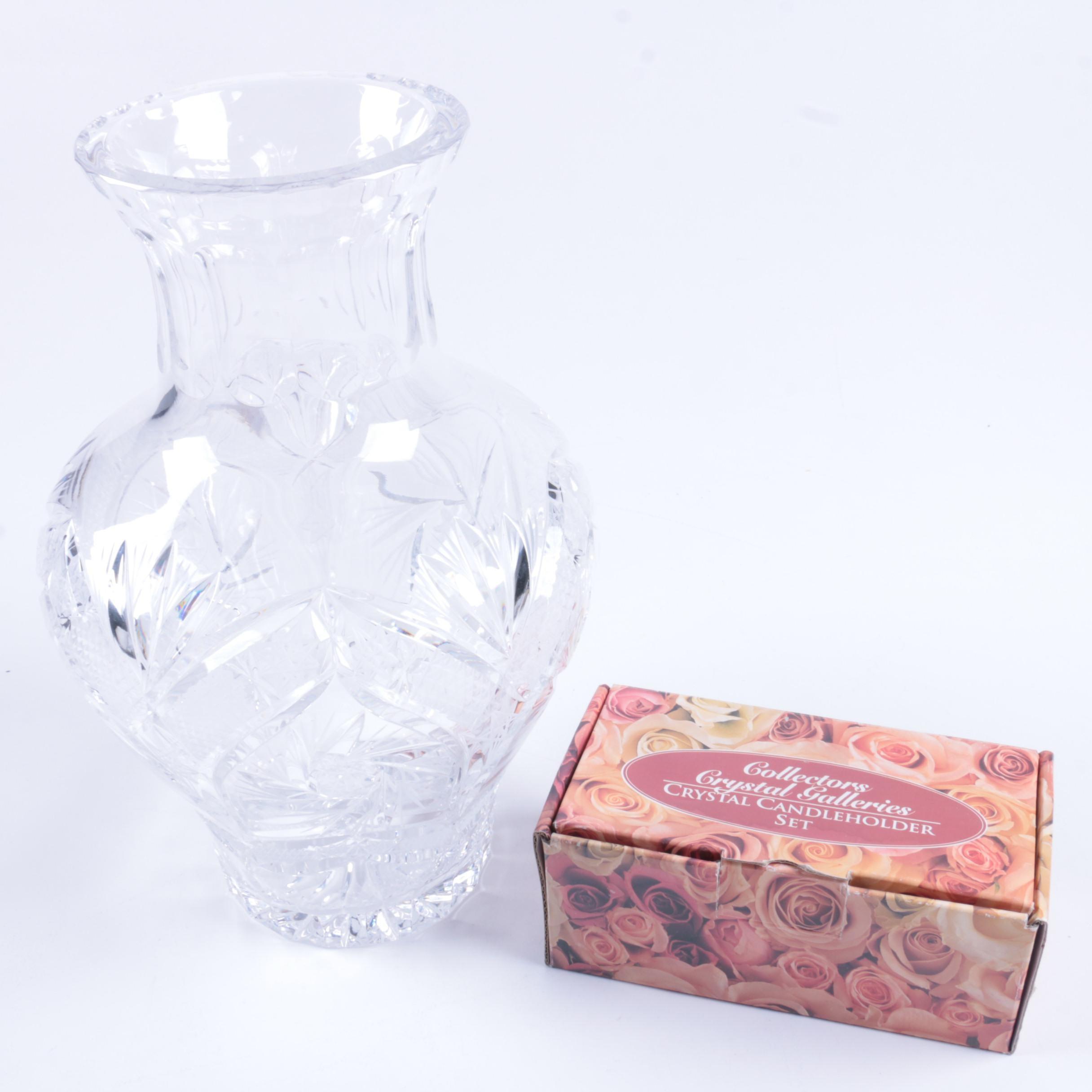 Vintage Crystal Vase and Candleholders