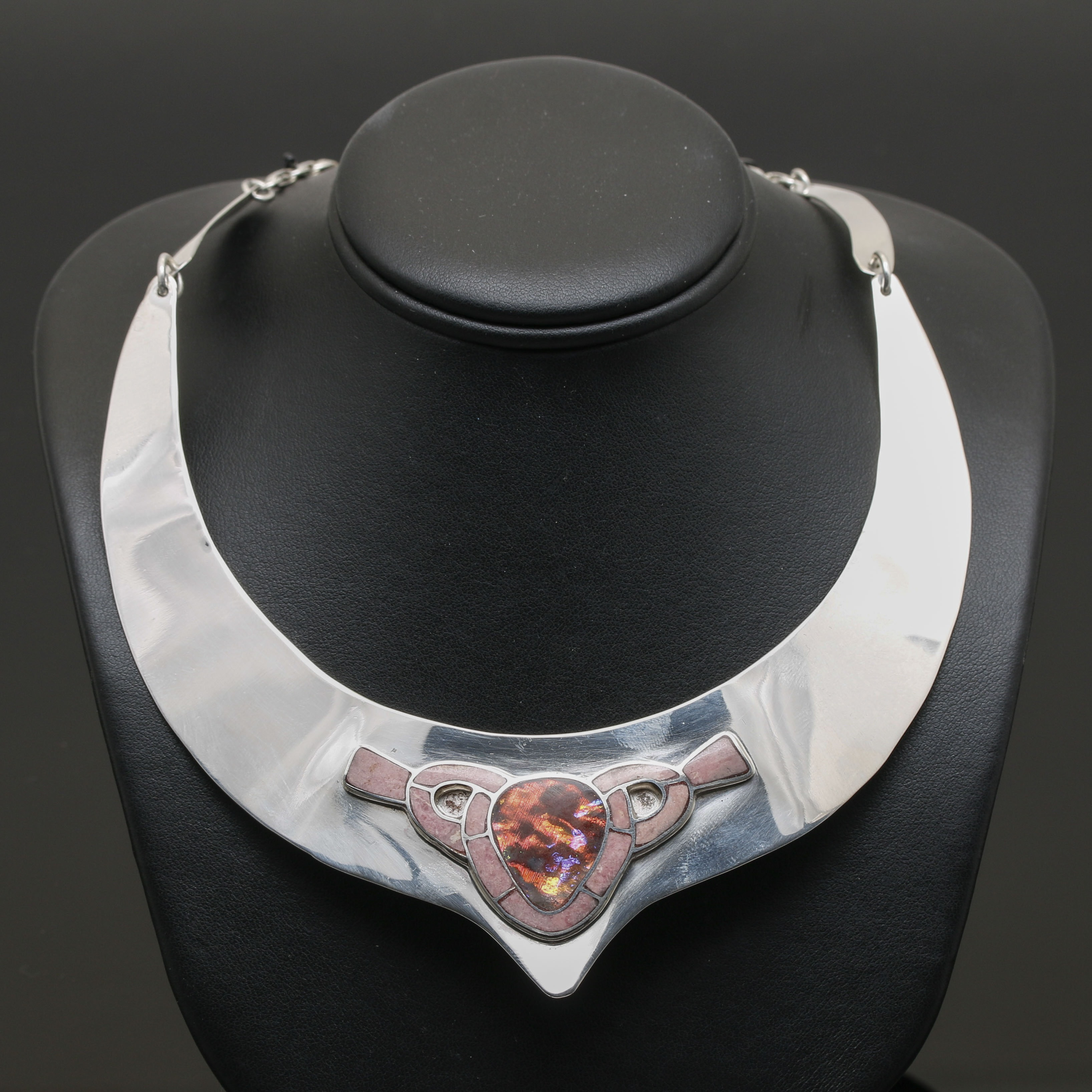 Sterling Silver Collar Necklace with Glass and Rhodonite Accent Gemstones