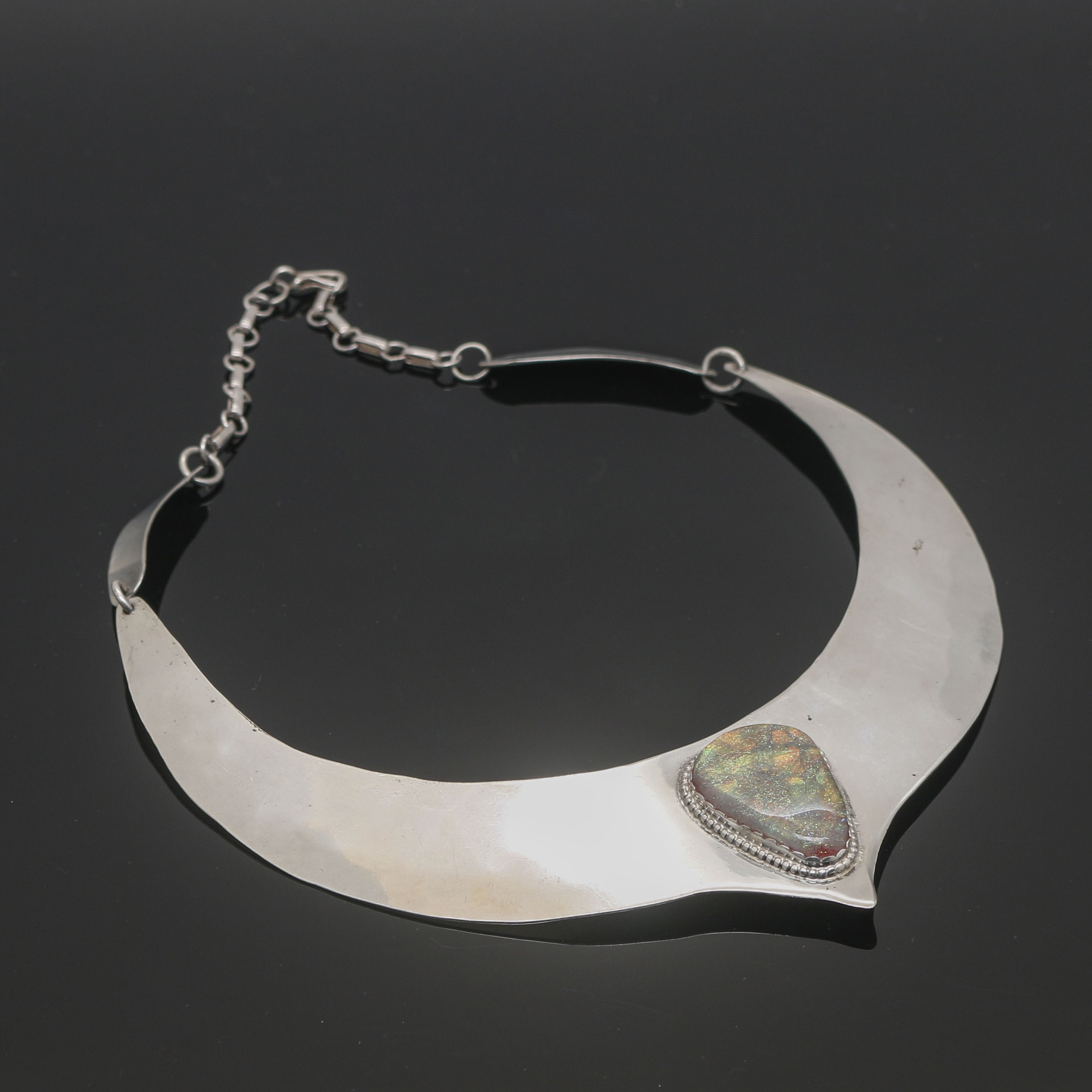 Sterling Silver Collar Necklace with Glass Accent Stone