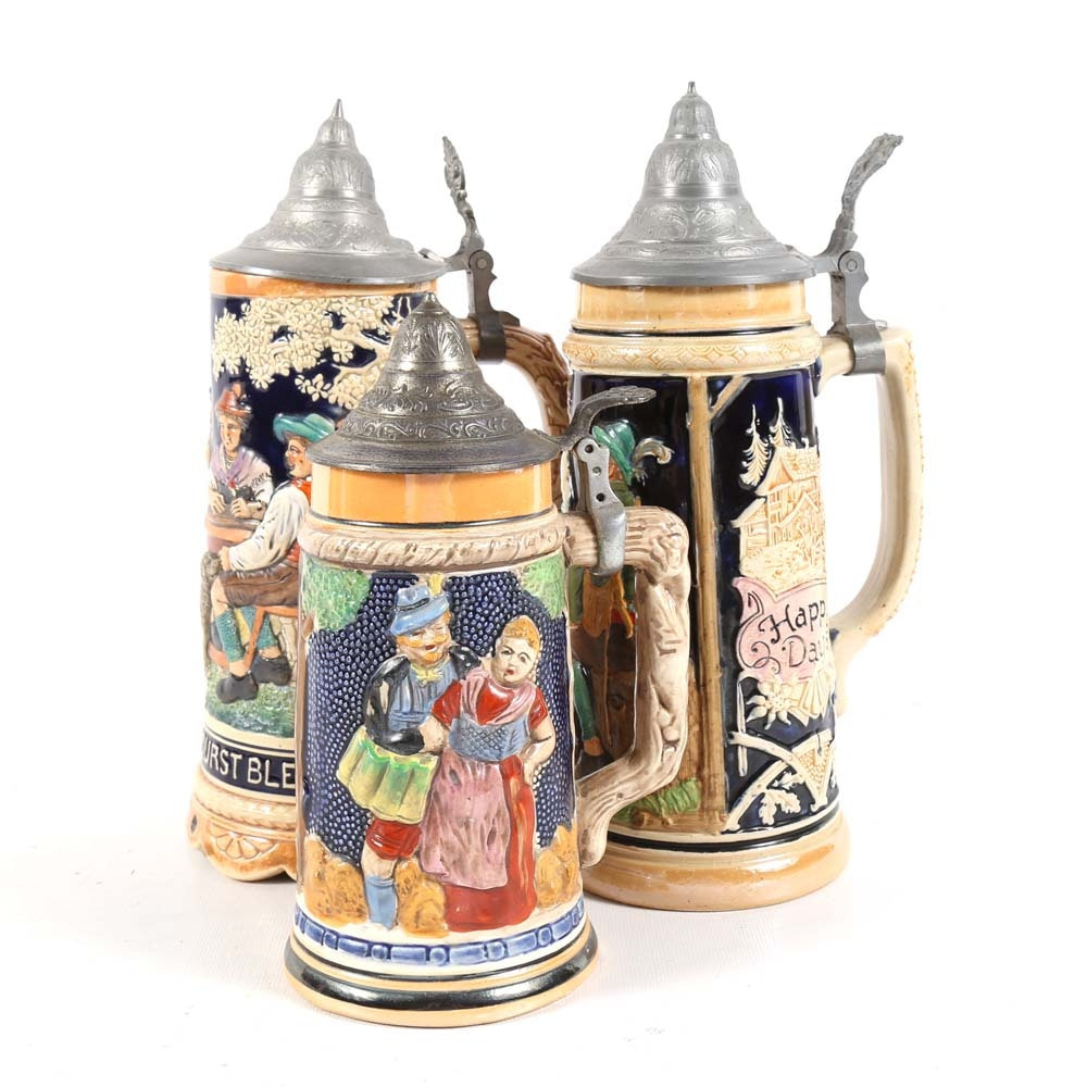 Vintage German Hand Painted Ceramic Beer Steins and Music Box