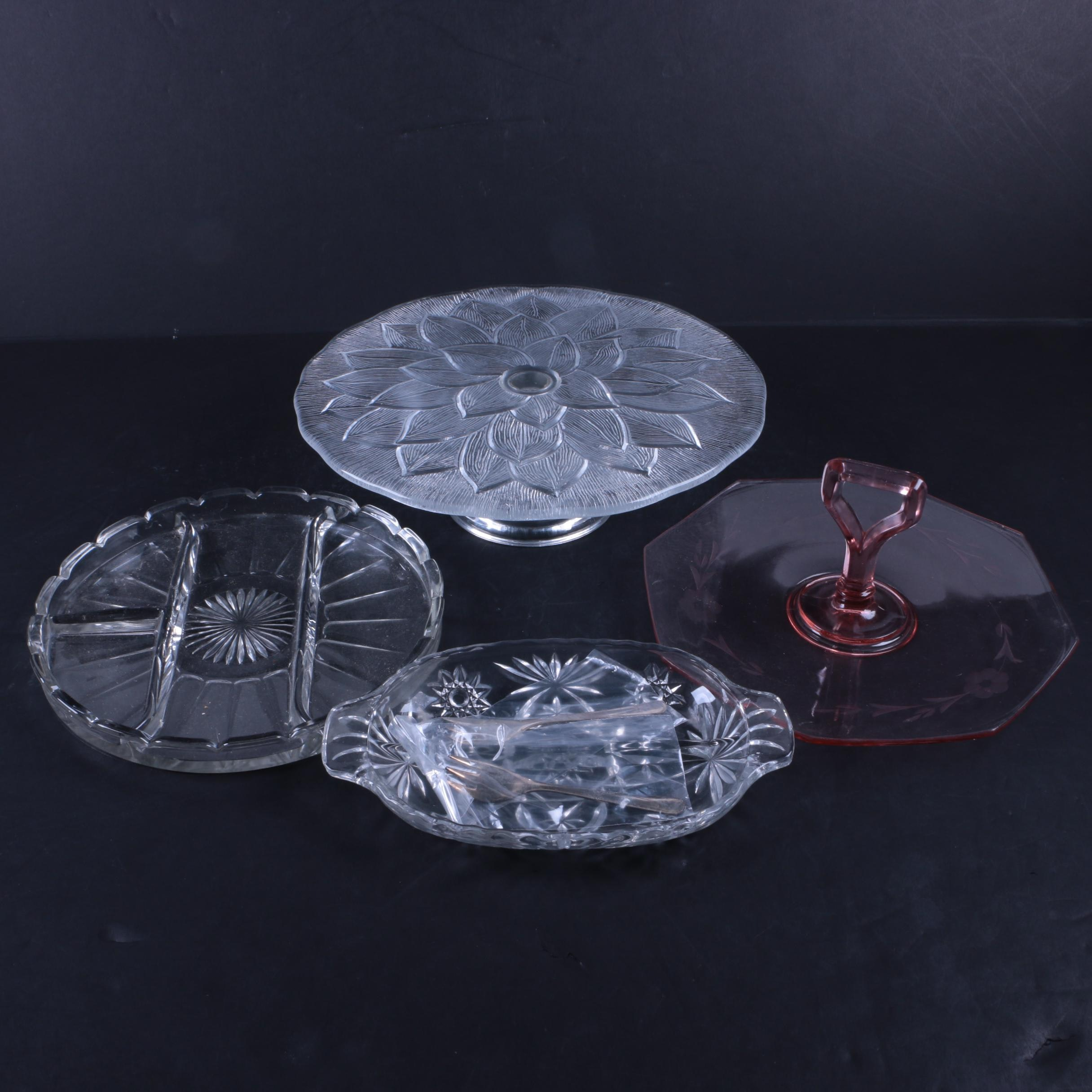 Vintage Crystal and Glass Serving Platters