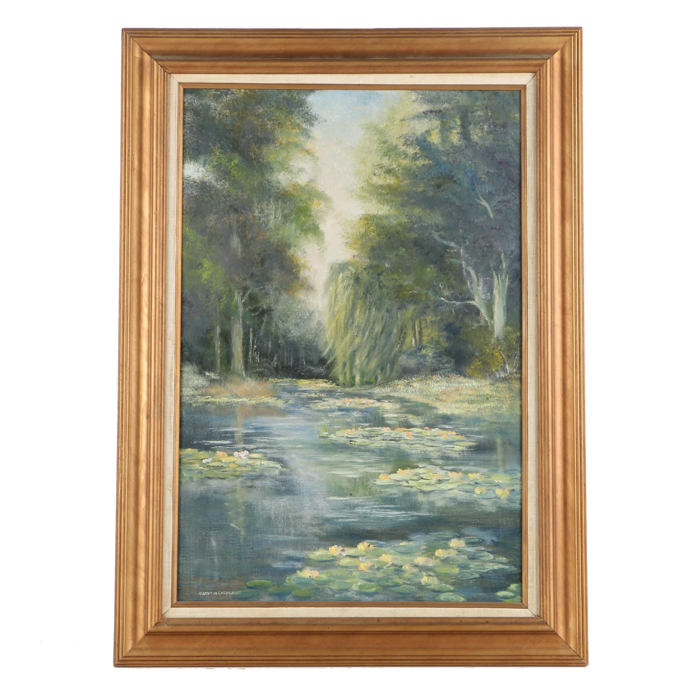 """Chrisgeoff Oil Painting on Canvas """"The Water Garden"""""""