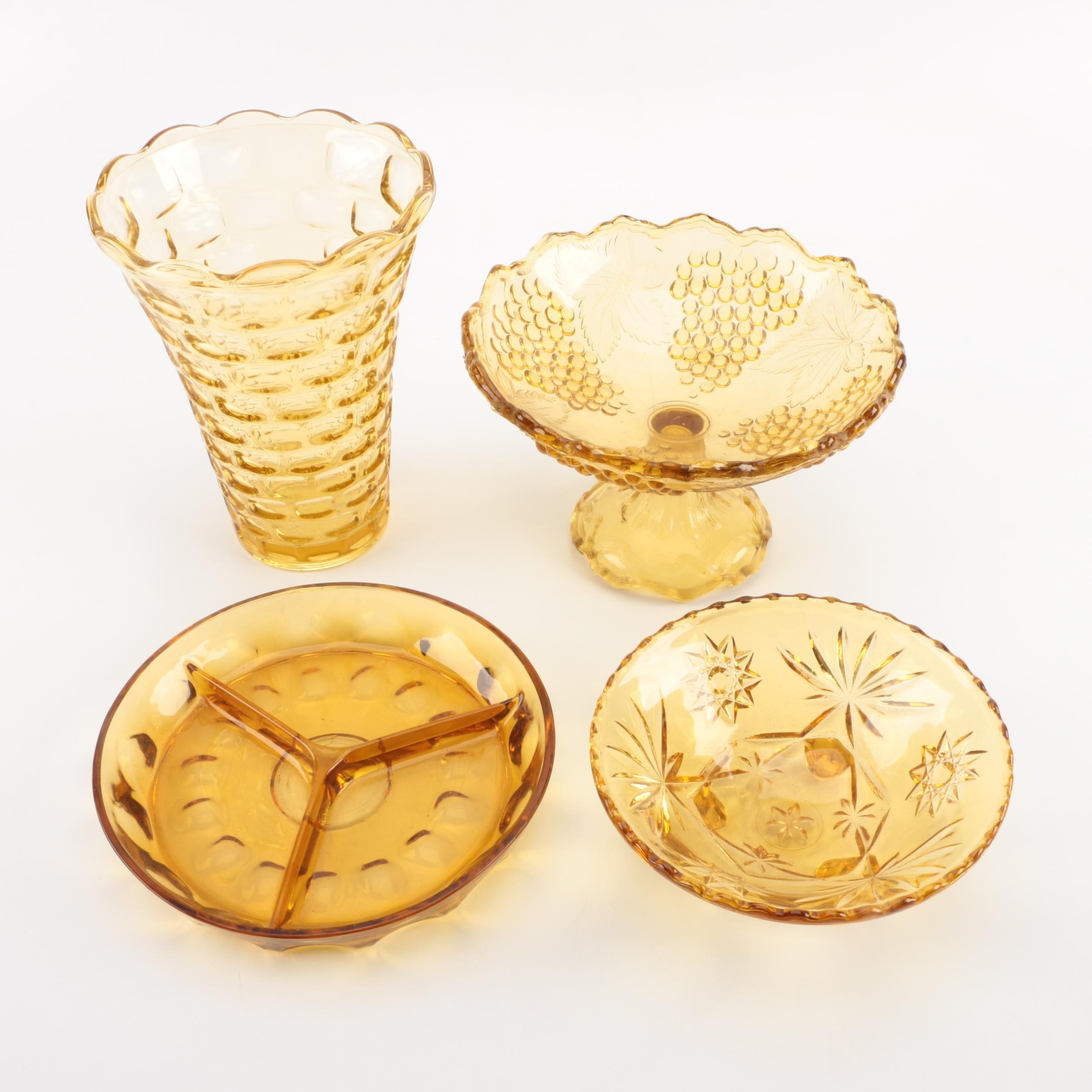 Amber Pressed Glass Dishes