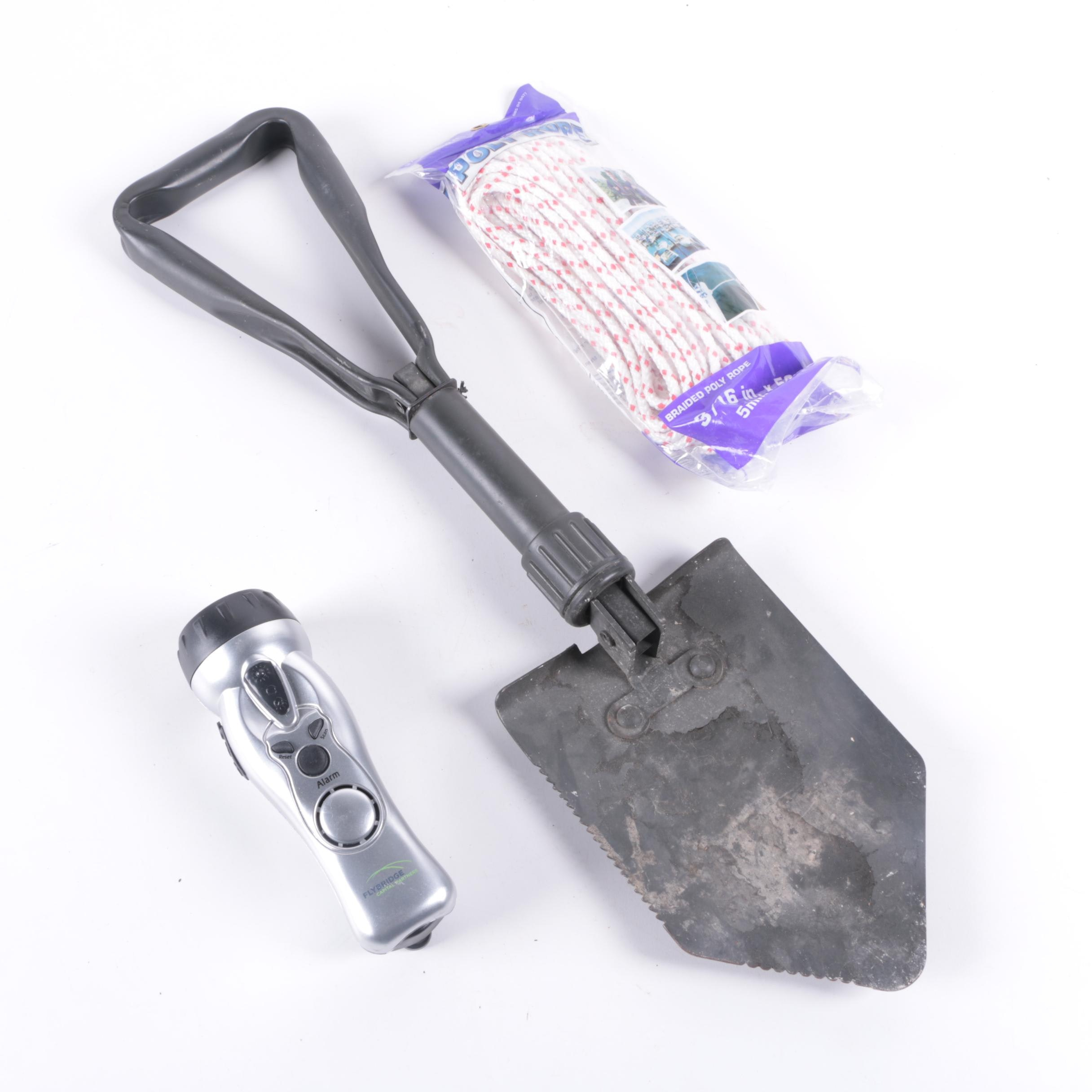 Outdoor Shovel, Flashlight and Rope