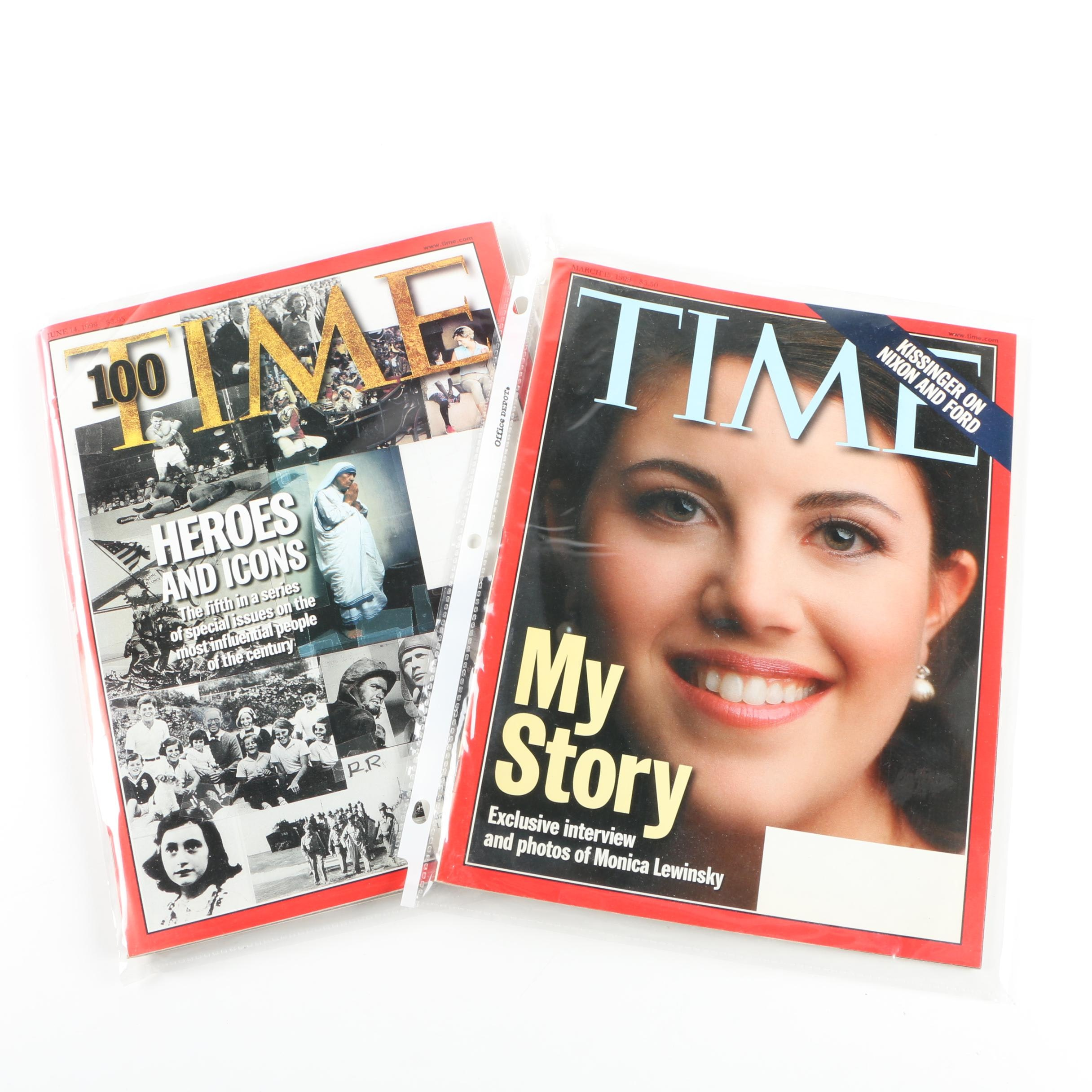 """""""Time"""" Magazines featuring """"Heroes and Icons"""" and Monica Lewinsky"""