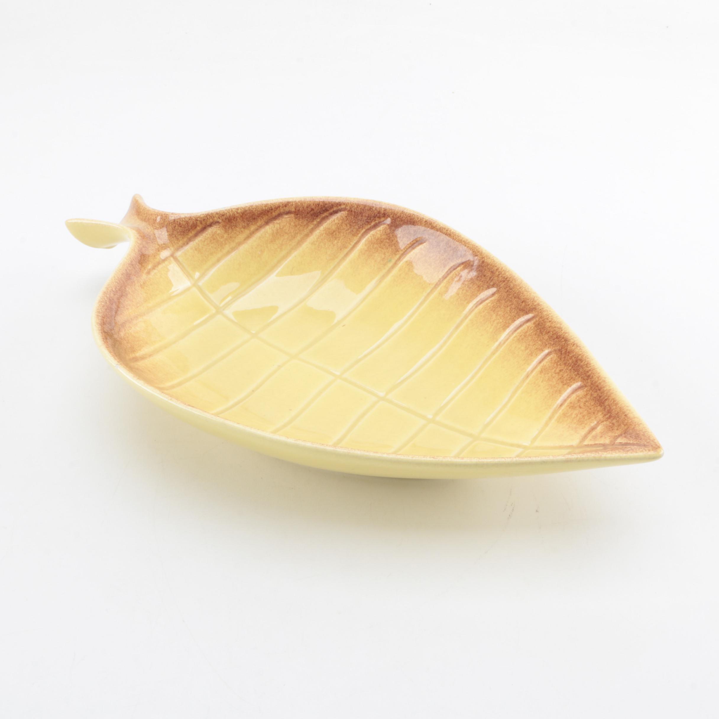 Yellow Royal Haeger Ceramic Leaf Bowl