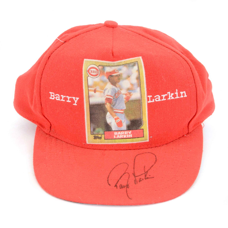 Barry Larkin Autographed Hat COA