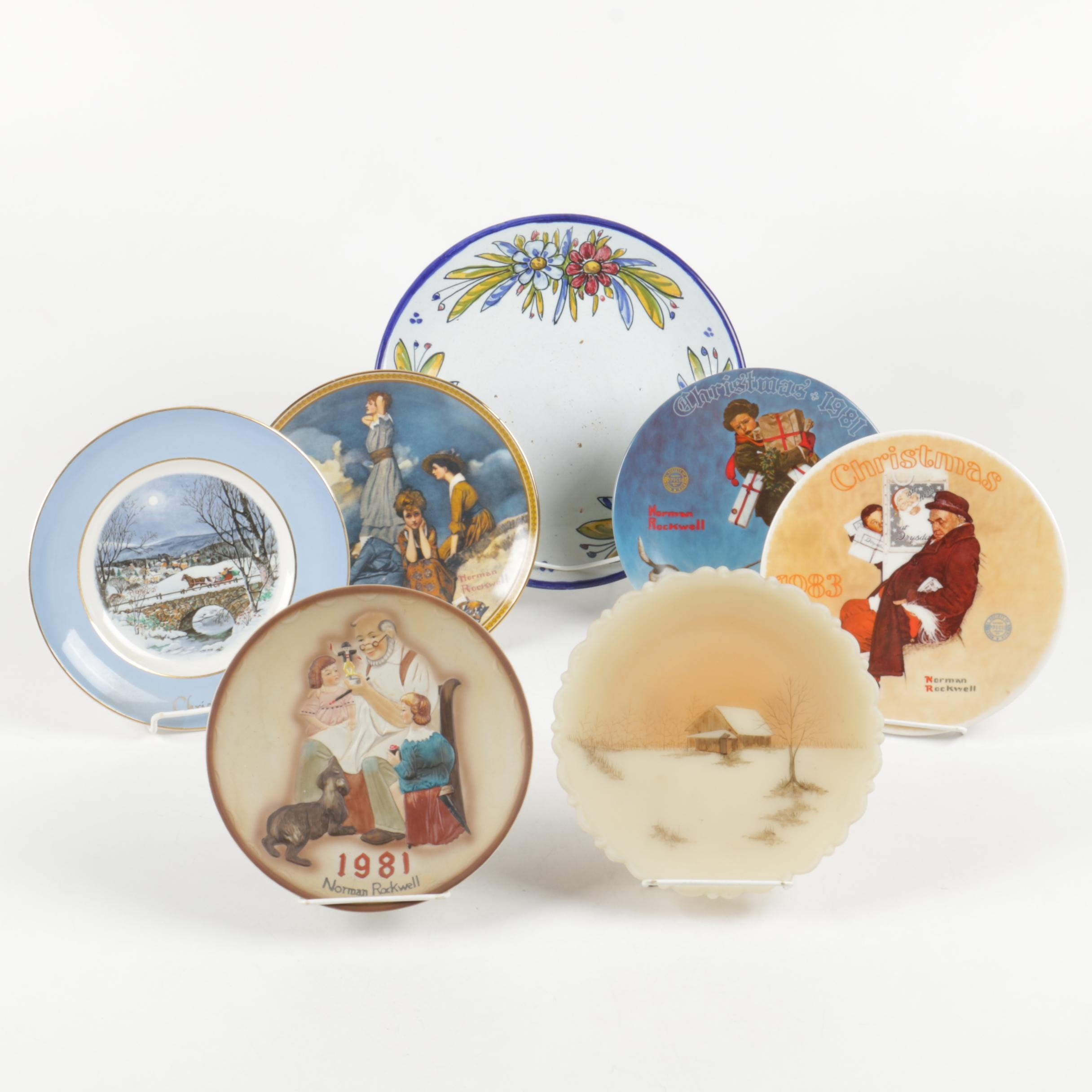 Decorative Plates Including Norman Rockwell And Hand Painted Quismondo Toledo