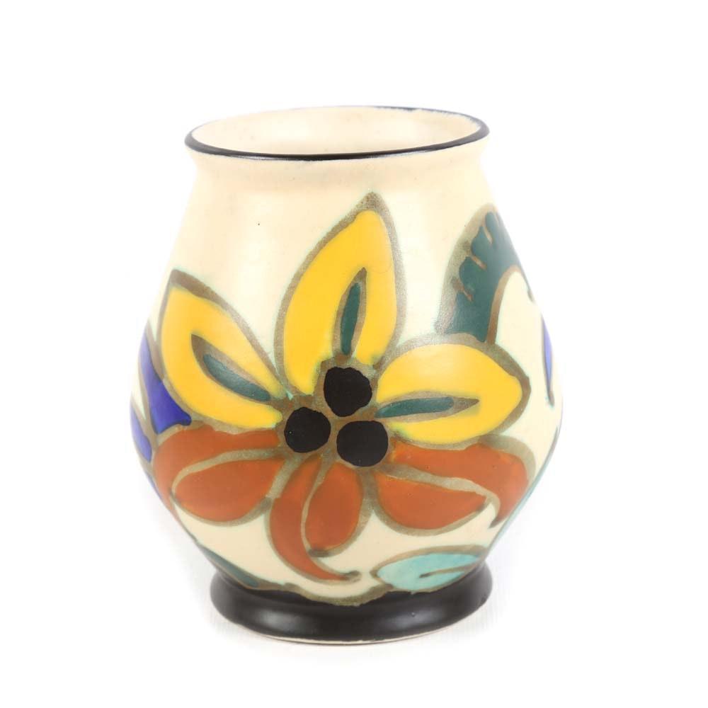Vintage Belgian Flemish Gouda-Style Hand-Painted Vase