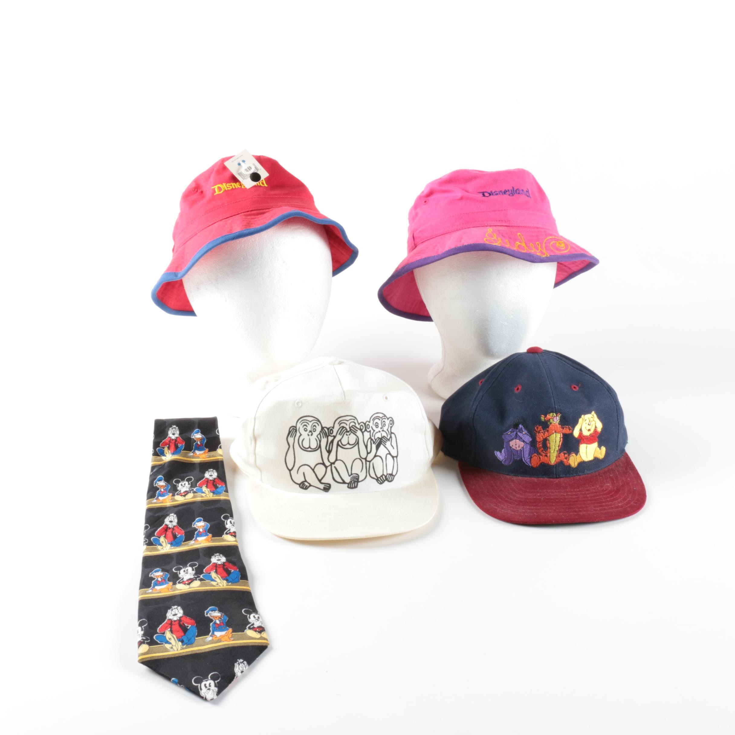 Collection of Disney Hats and Tie