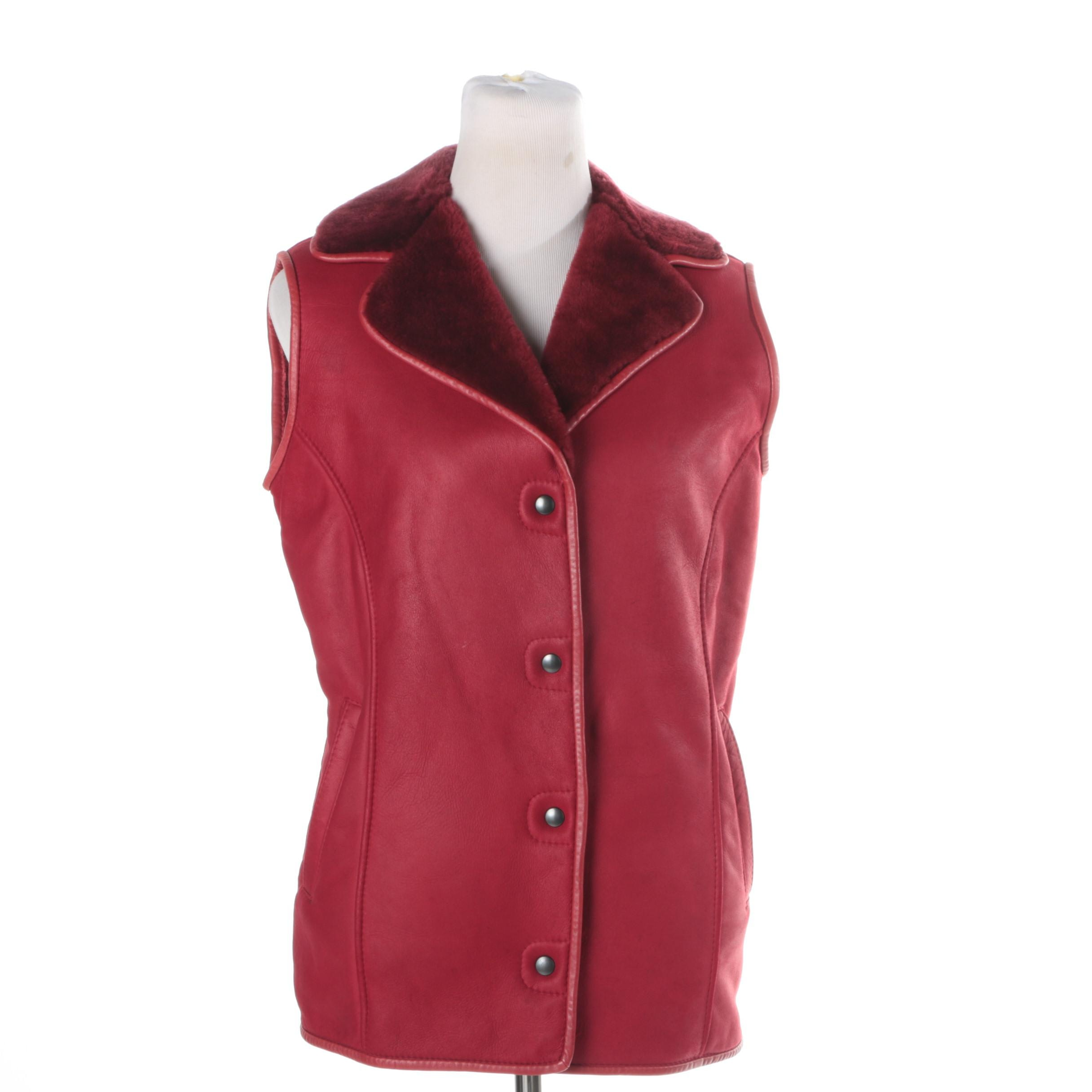 Bart Red Lambskin Leather Vest