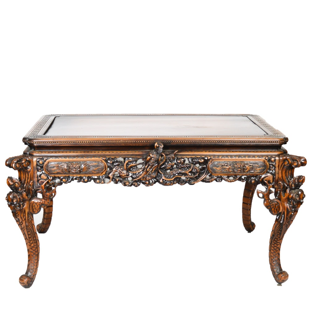 Carved Chinese Table in Japanese Art Nouveau Style