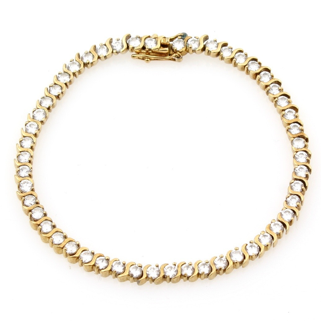 Gold Wash on Sterling Silver and Cubic Zirconia Bracelet