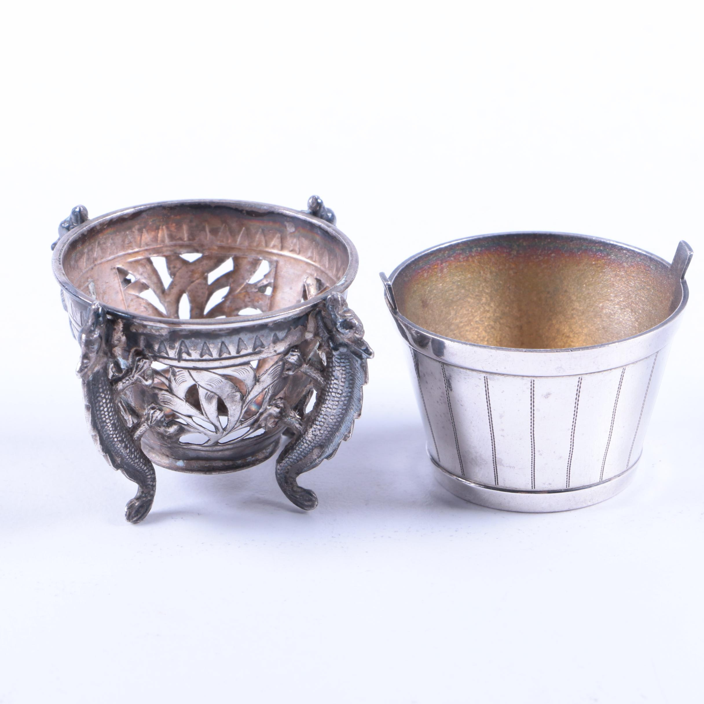 Whiting Mfg. Co. Sterling Silver Barrel Salt Cellar with Openwork Dragon Cellar