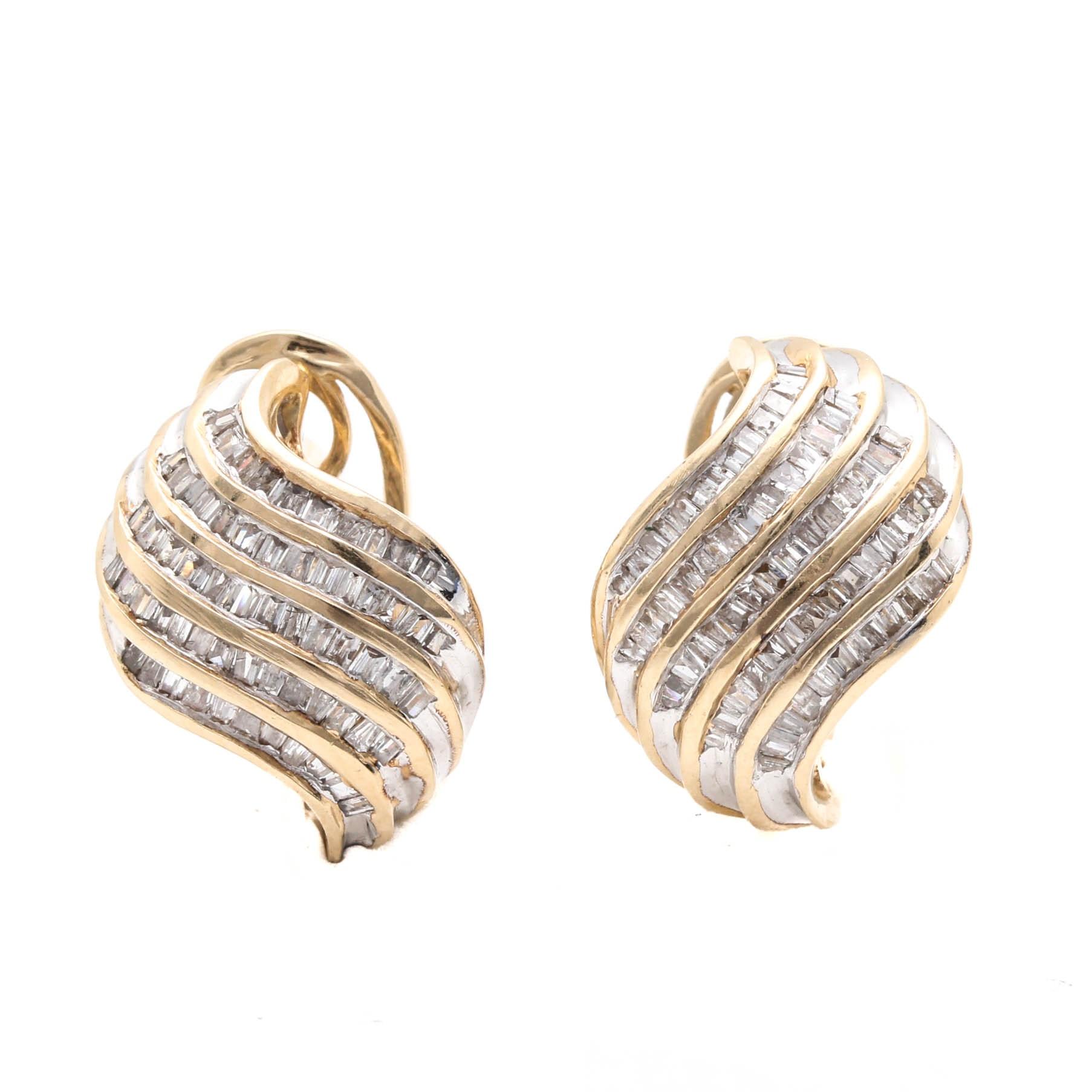 14K Yellow Gold 1.00 CTW Diamond Post Back Earrings