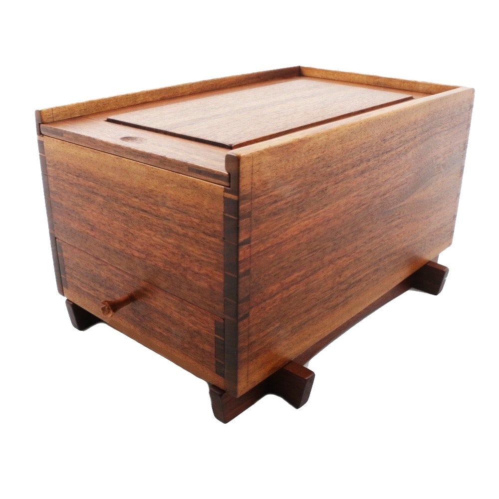 Kyle Kinser Hand-Made Walnut Jewelry Box with Slide-Lid and Drawer