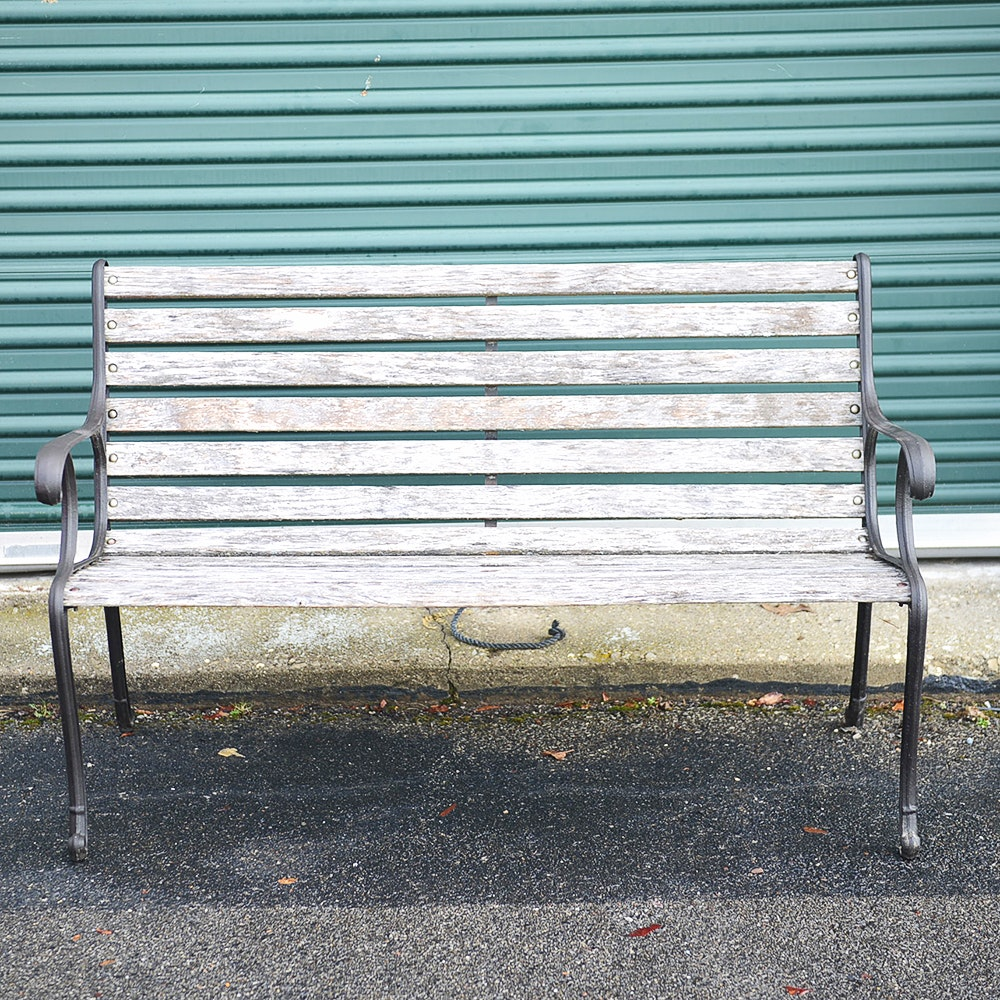 Vintage Wrought Iron and Weathered Wood Bench