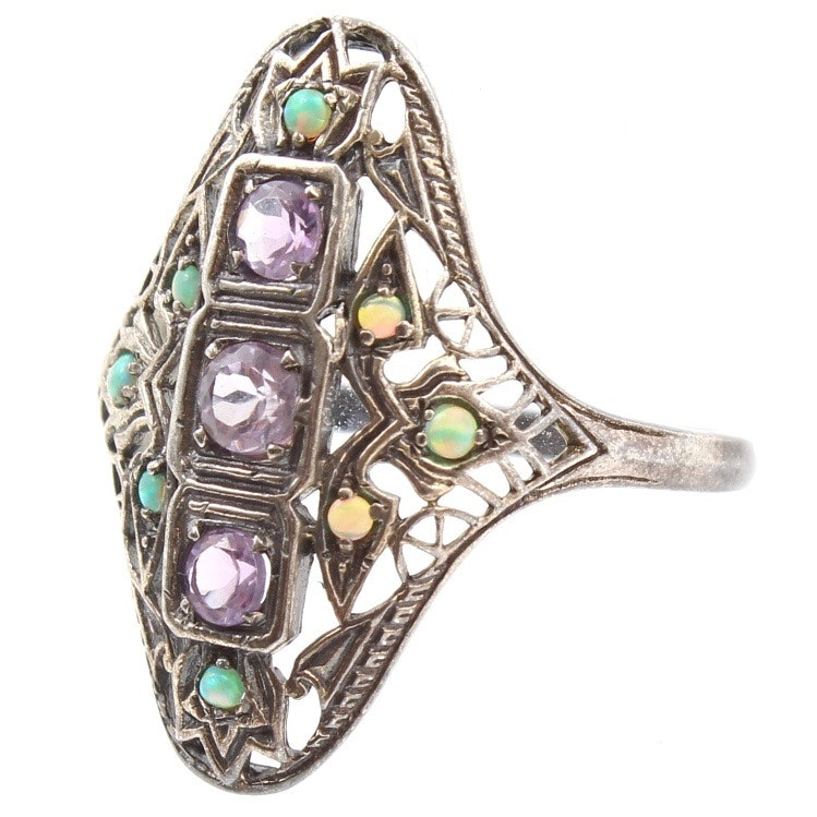 Sterling Silver Amethyst and Opal Ring