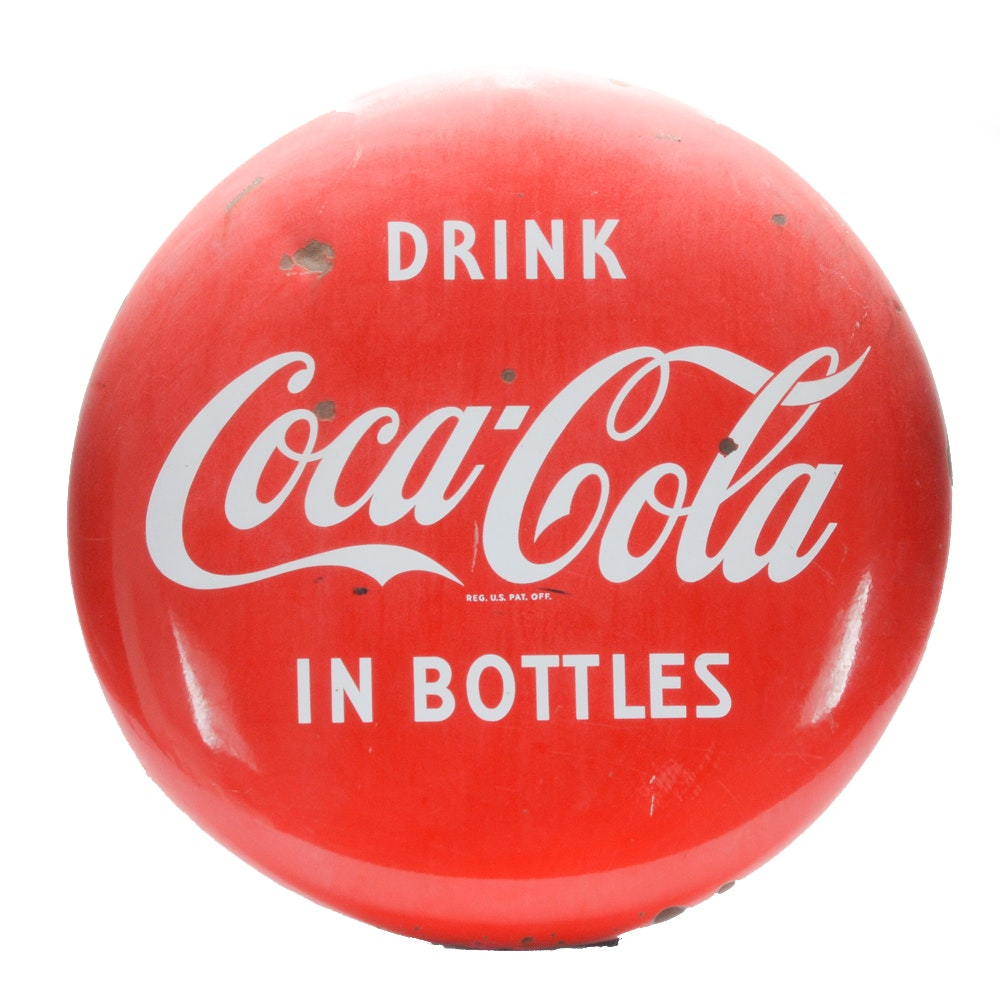 "1950s ""Drink Coca-Cola In Bottle"" Metal Sign"
