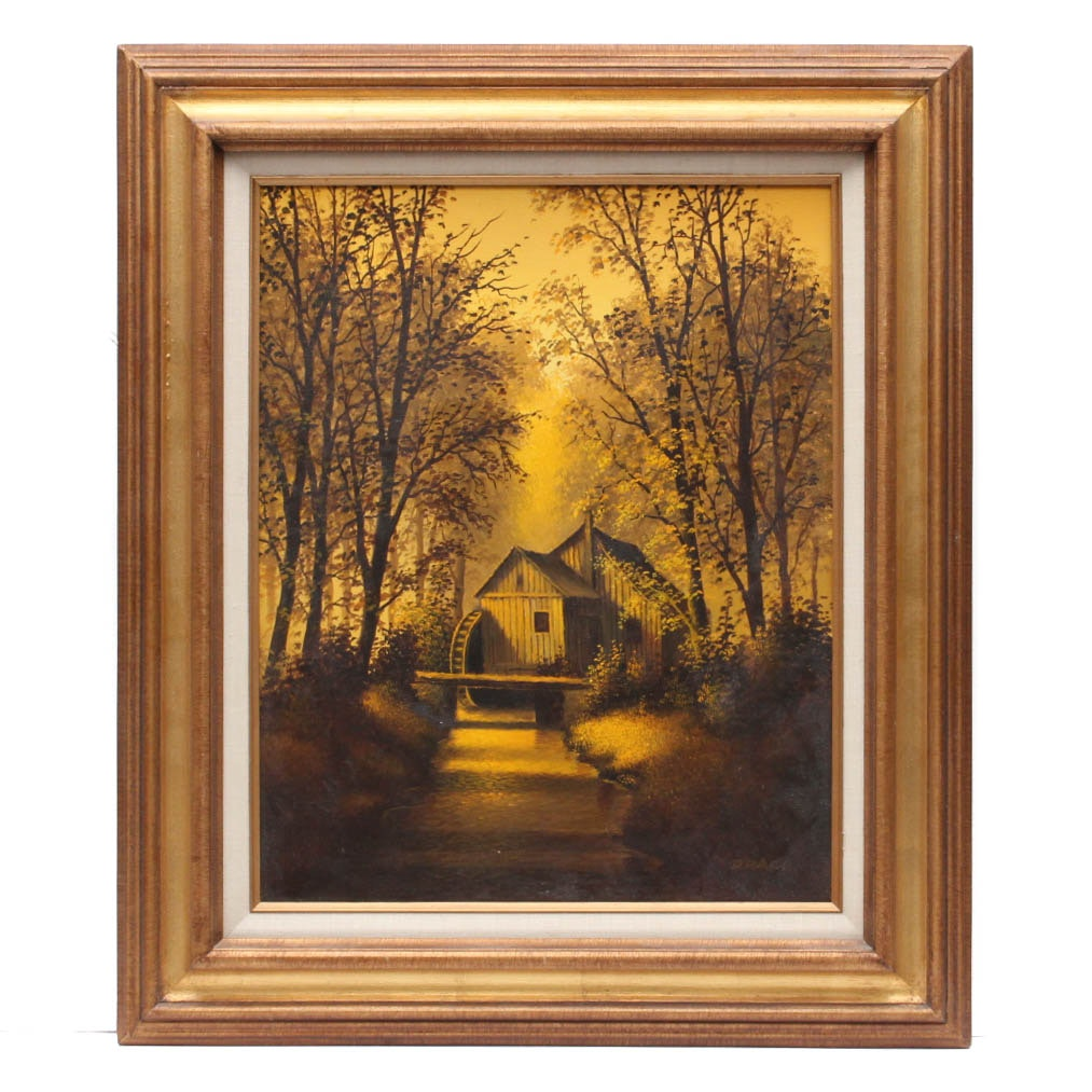Drago Mill Scene Oil Painting on Canvas